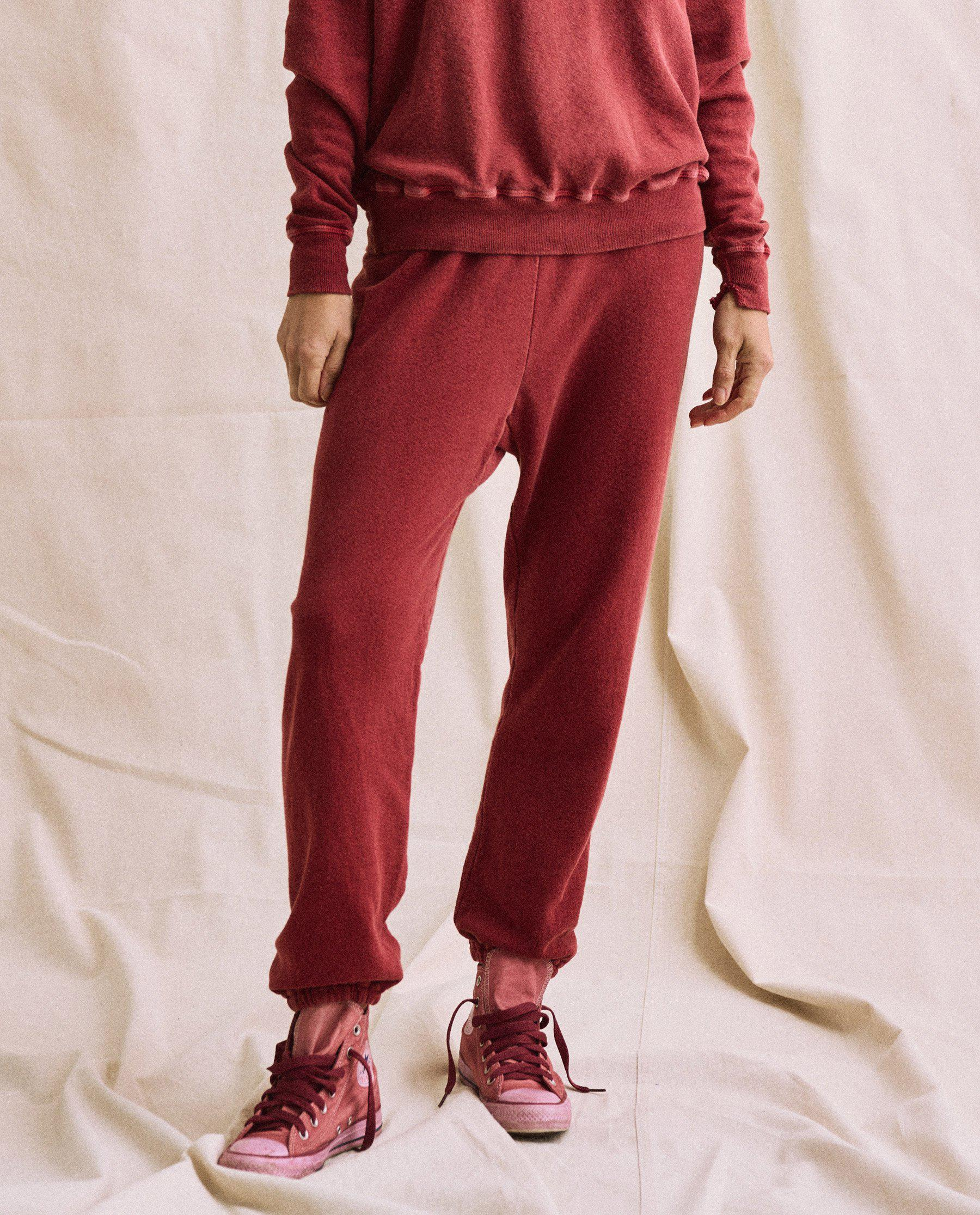 The Plant-Dyed Stadium Sweatpant. Novelty -- Deep Madder Root
