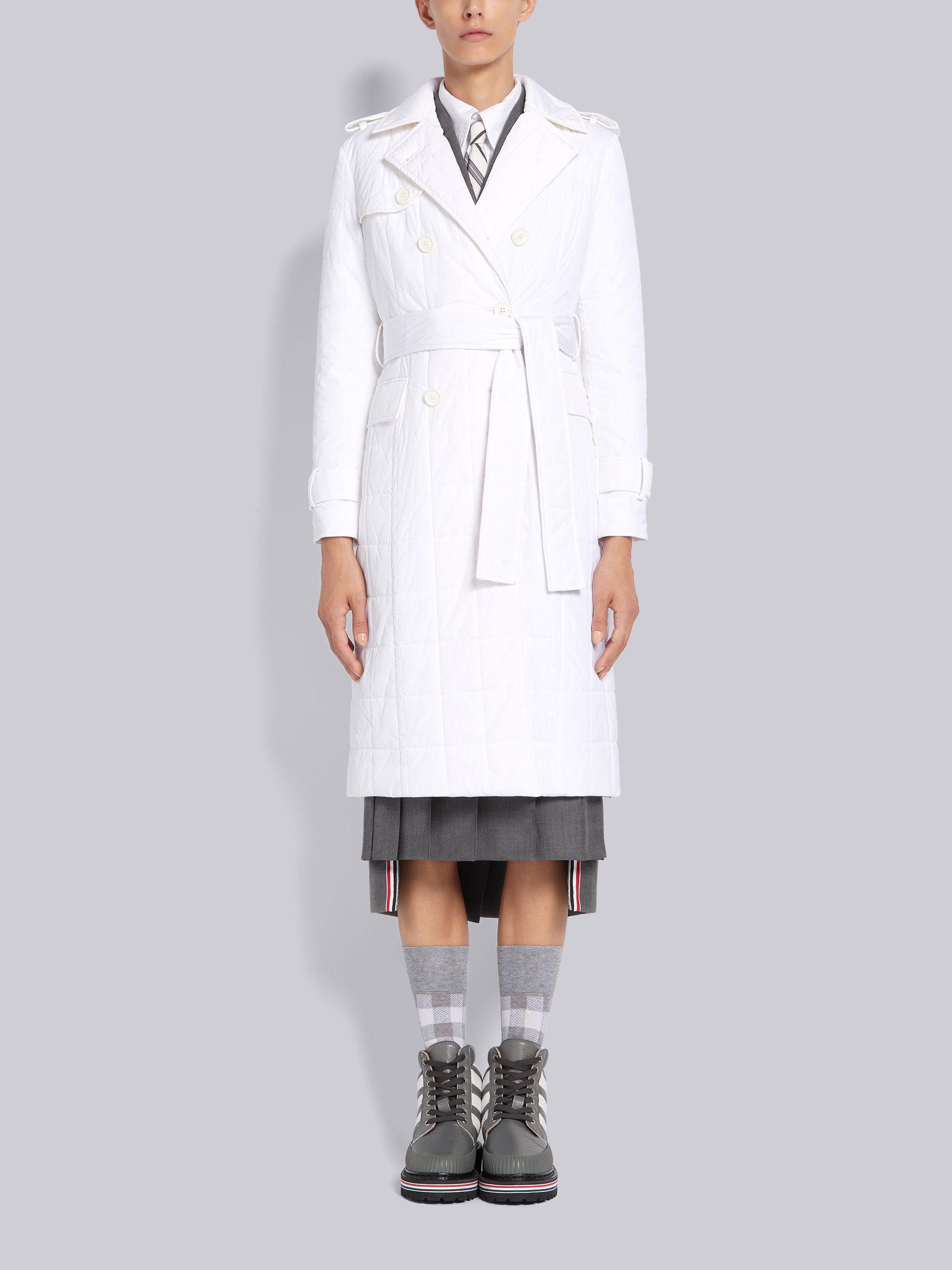 White Down Filled Poly Twill Center Back Stripe Classic Trench Coat
