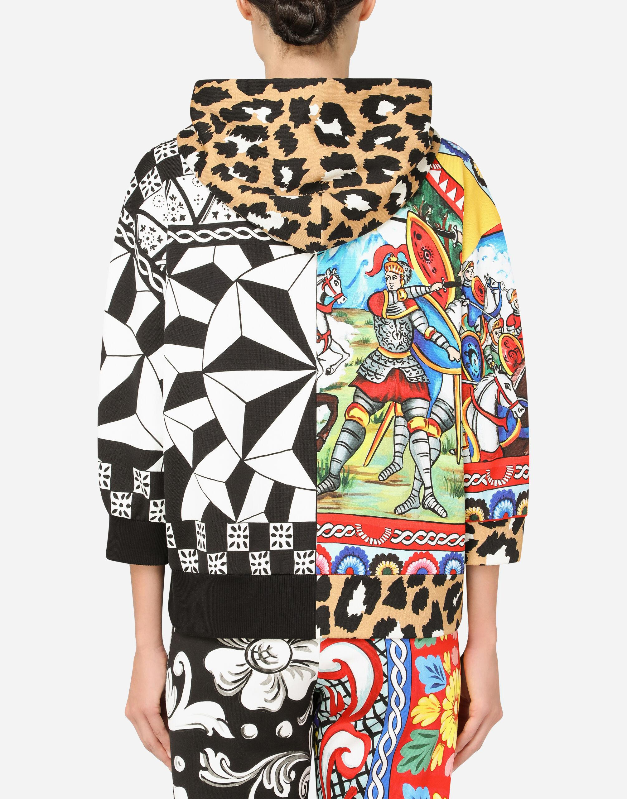 Jersey hoodie with patchwork print 1