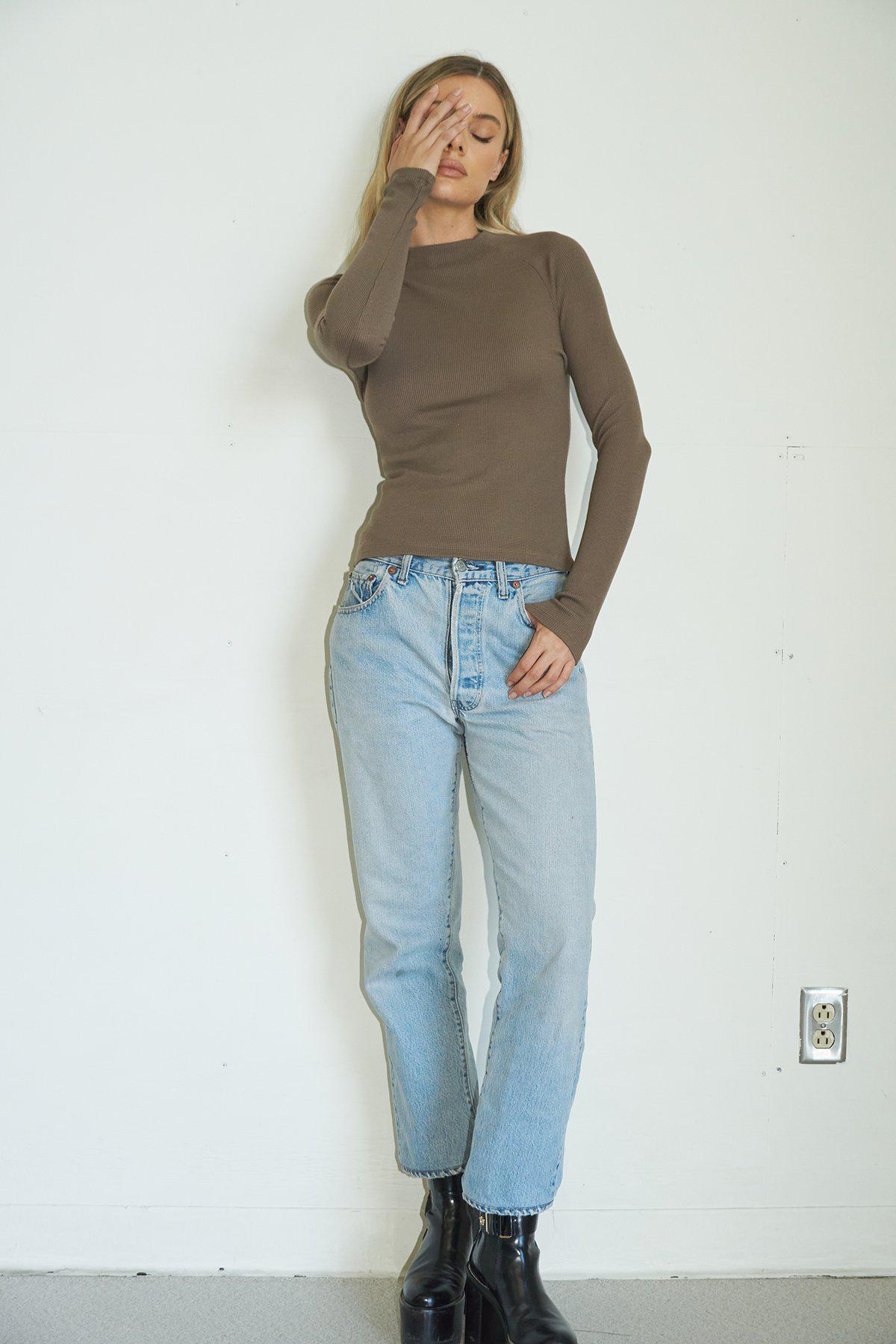 Long Sleeve Lyndell Top - Taupe
