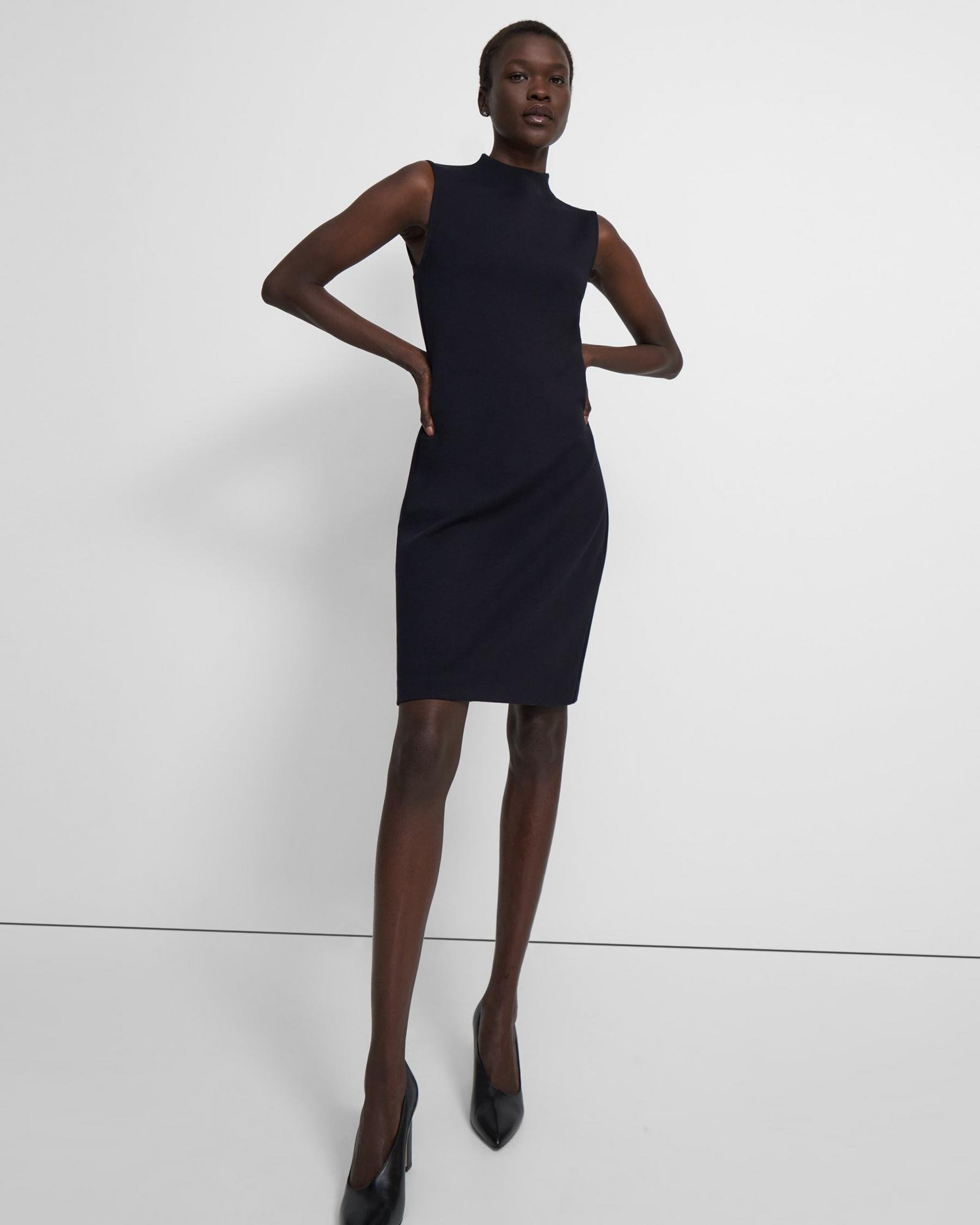 High-Neck Dress in Double-Knit Jersey
