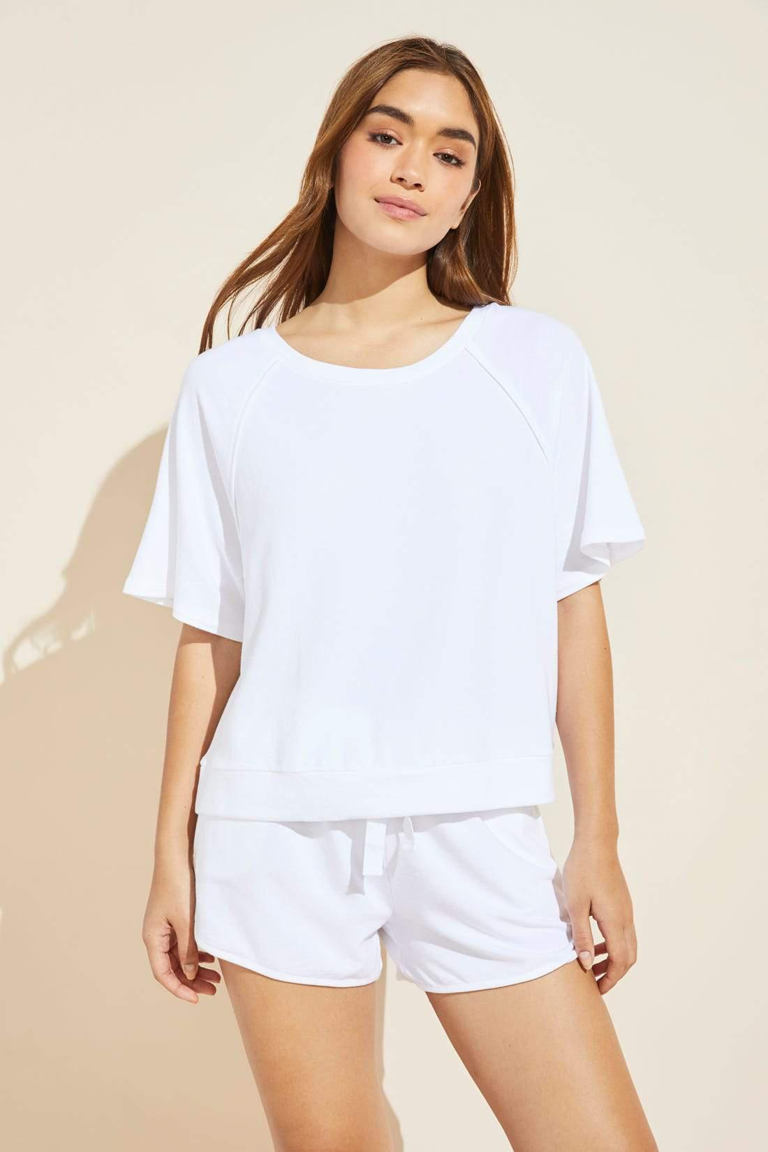 Blair French Terry Short Sleeve Top - White
