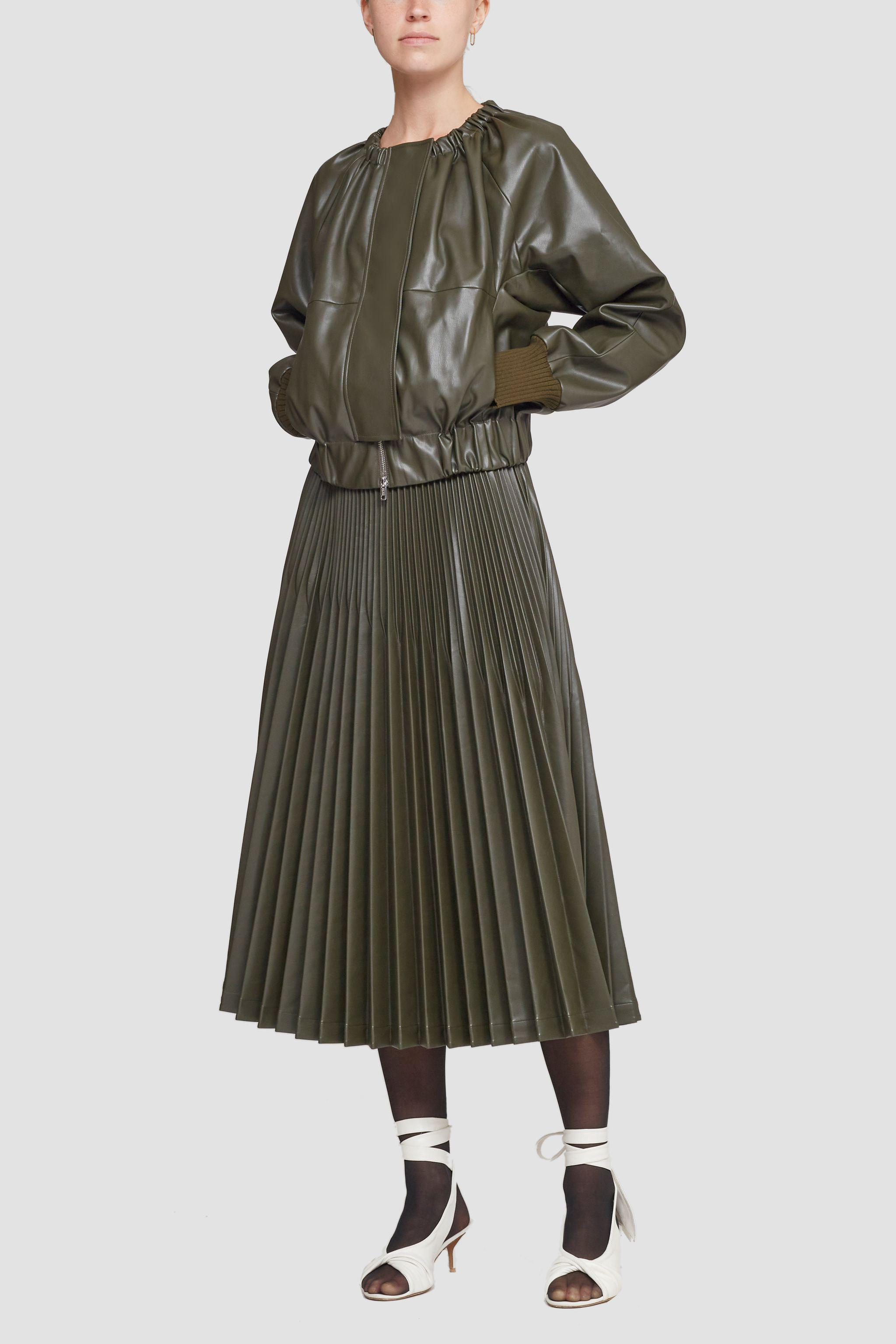 Leather Alternative Ruched Collar Jacket