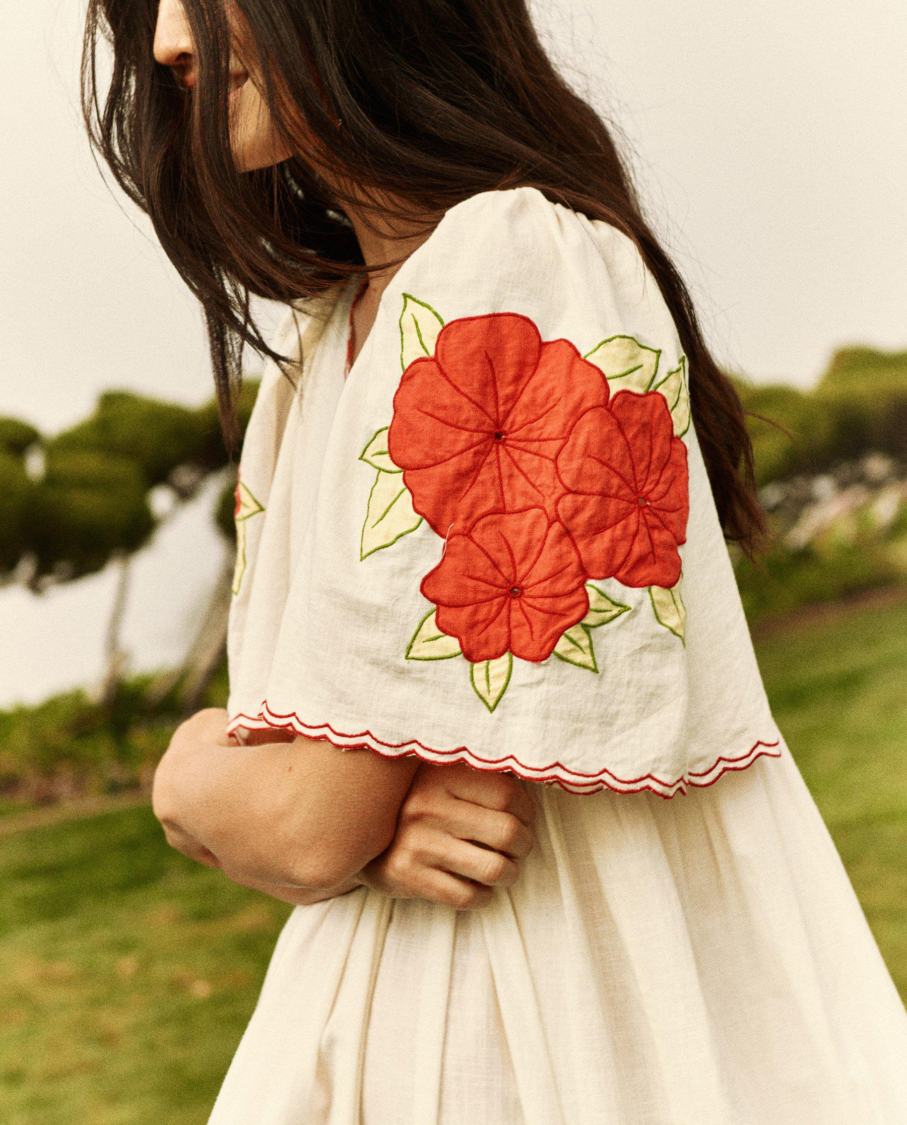 The Applique Floral Midi Dress. -- Cream with Red 1