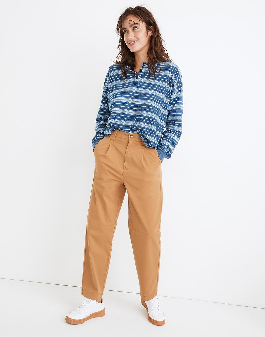 Pleated Slouchy Chino Pants