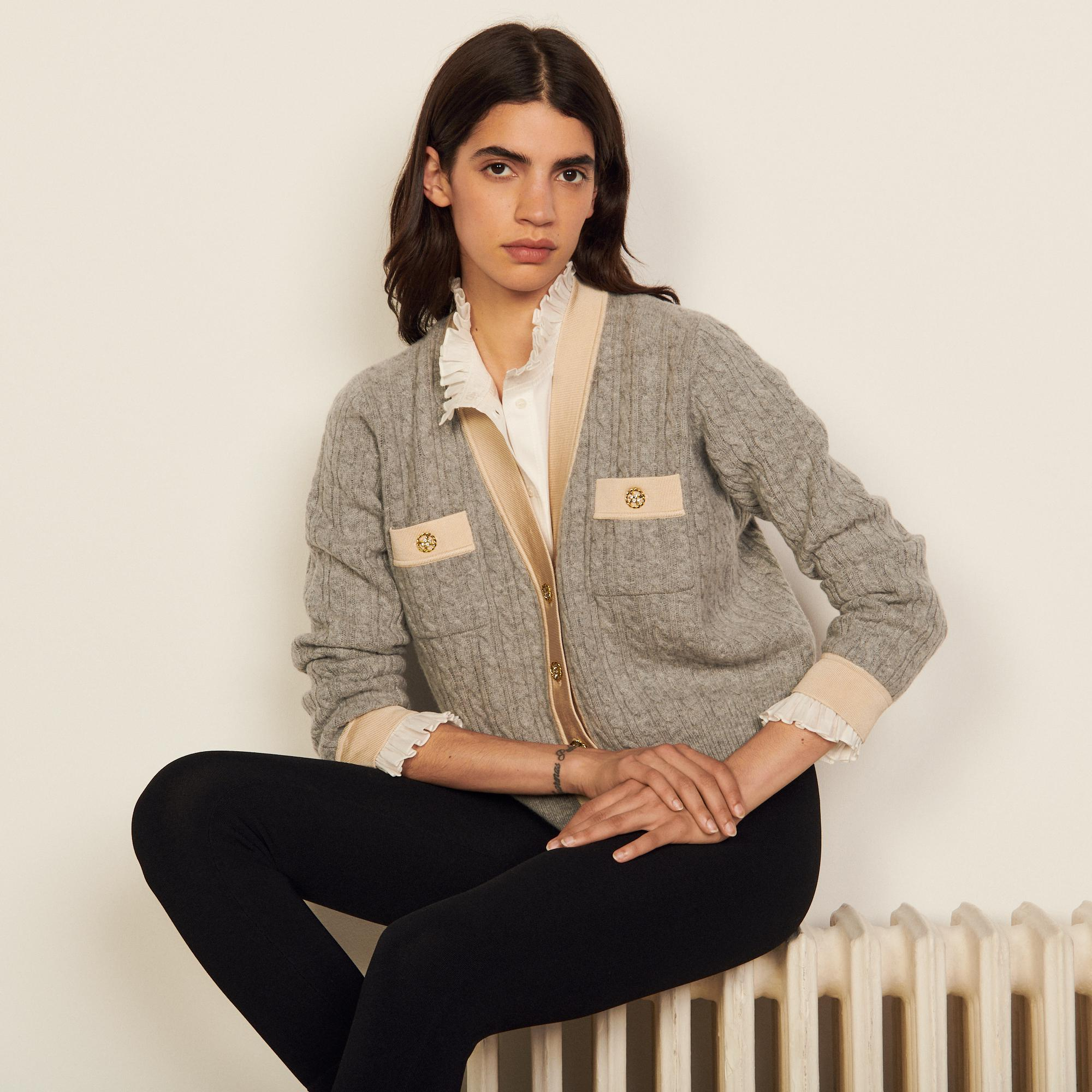 Cable knit cropped cardigan