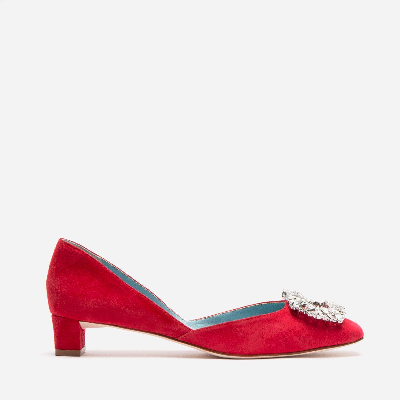 McCall Stacked Heel D'Orsay Suede Red