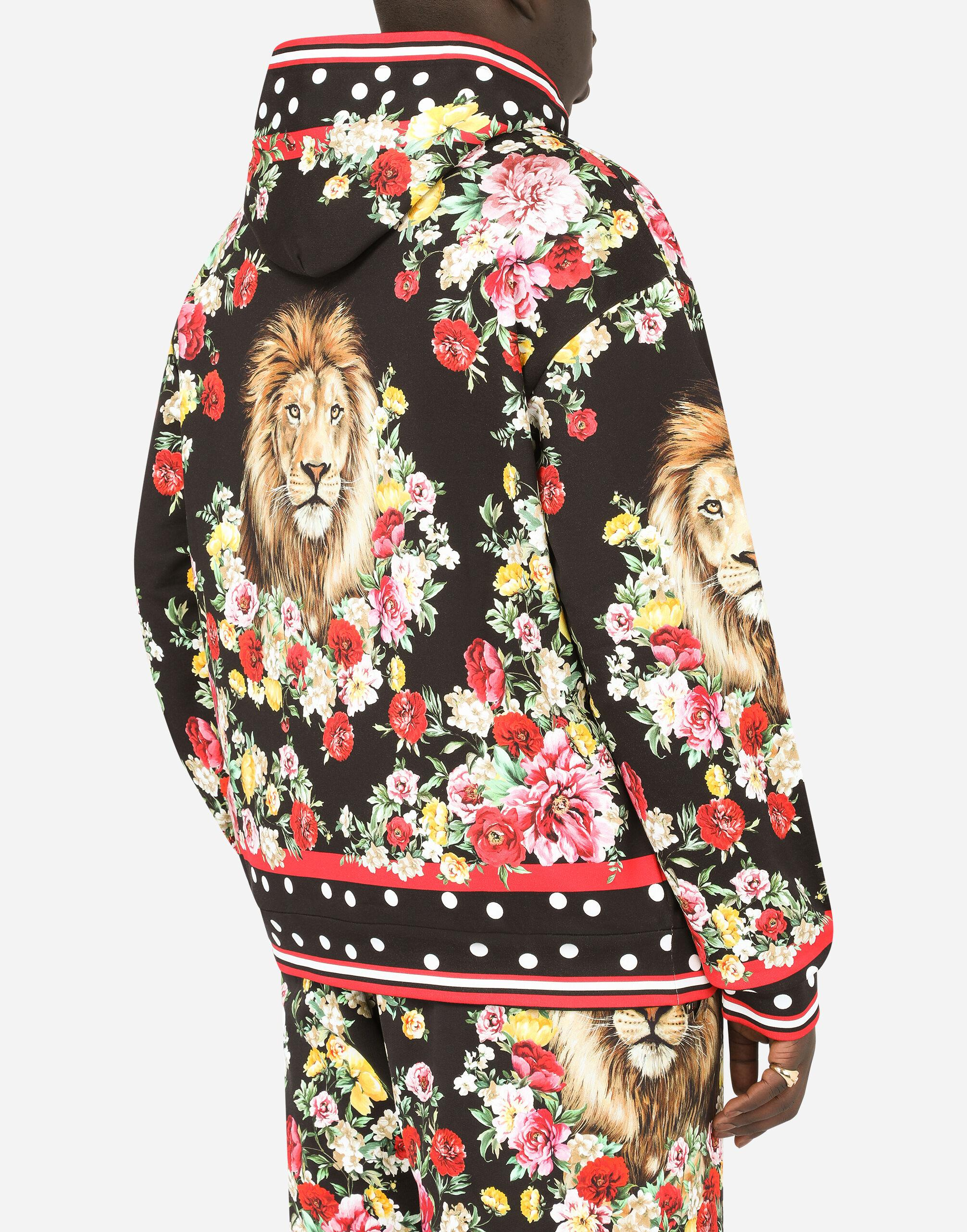 Hoodie with lion mix print 4
