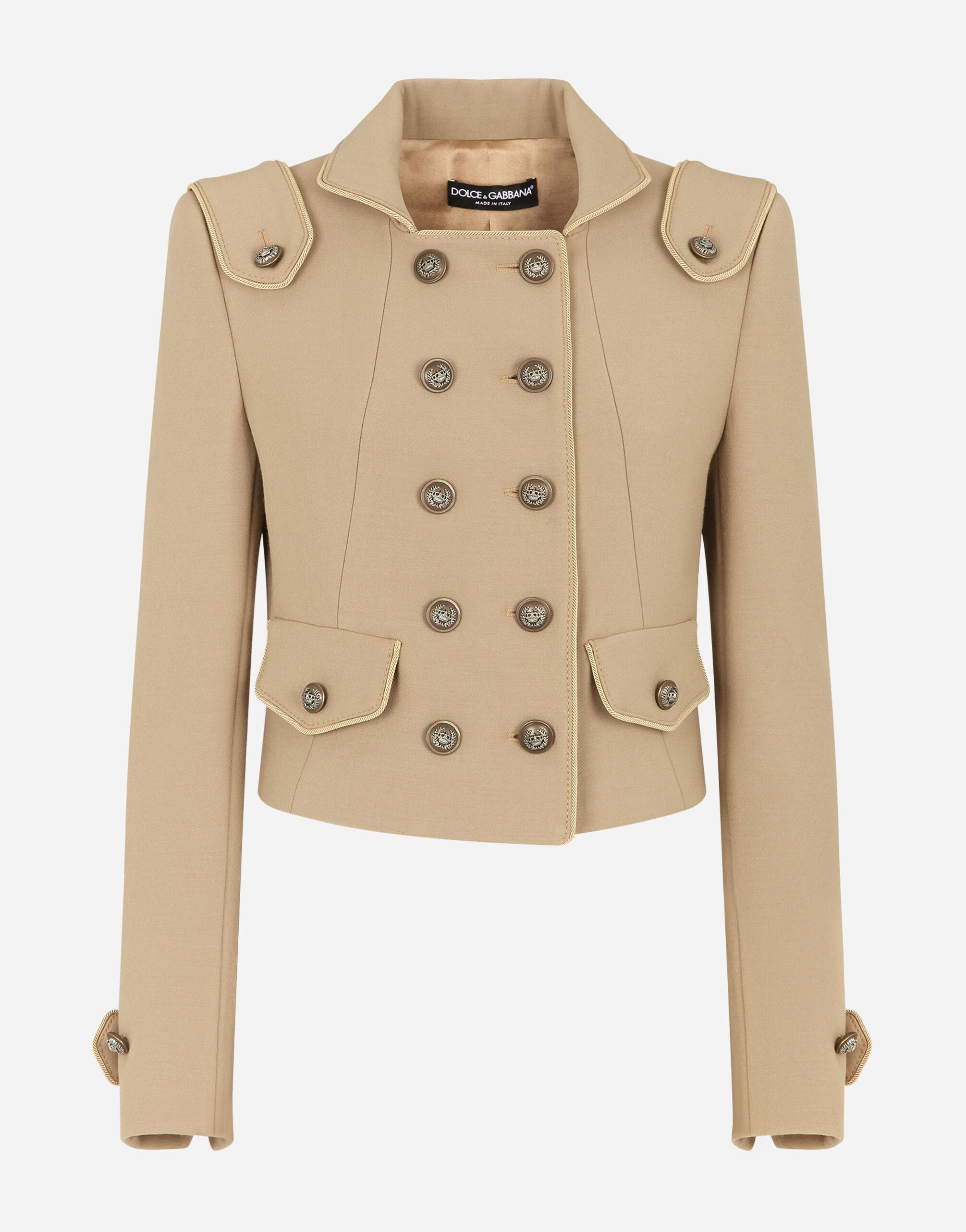 Cropped double-breasted jacket in wool with decorative buttons 2