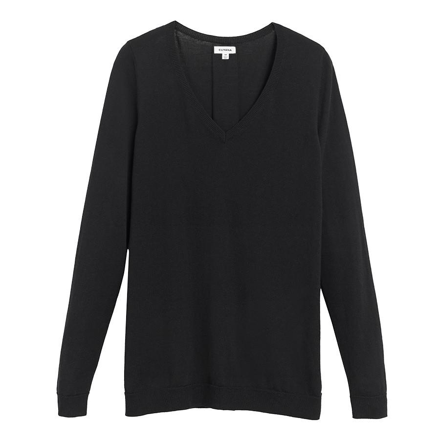 Women's Classic Cotton Cashmere V-Neck Sweater in Black | Size: XS | Cotton Blend by Cuyana