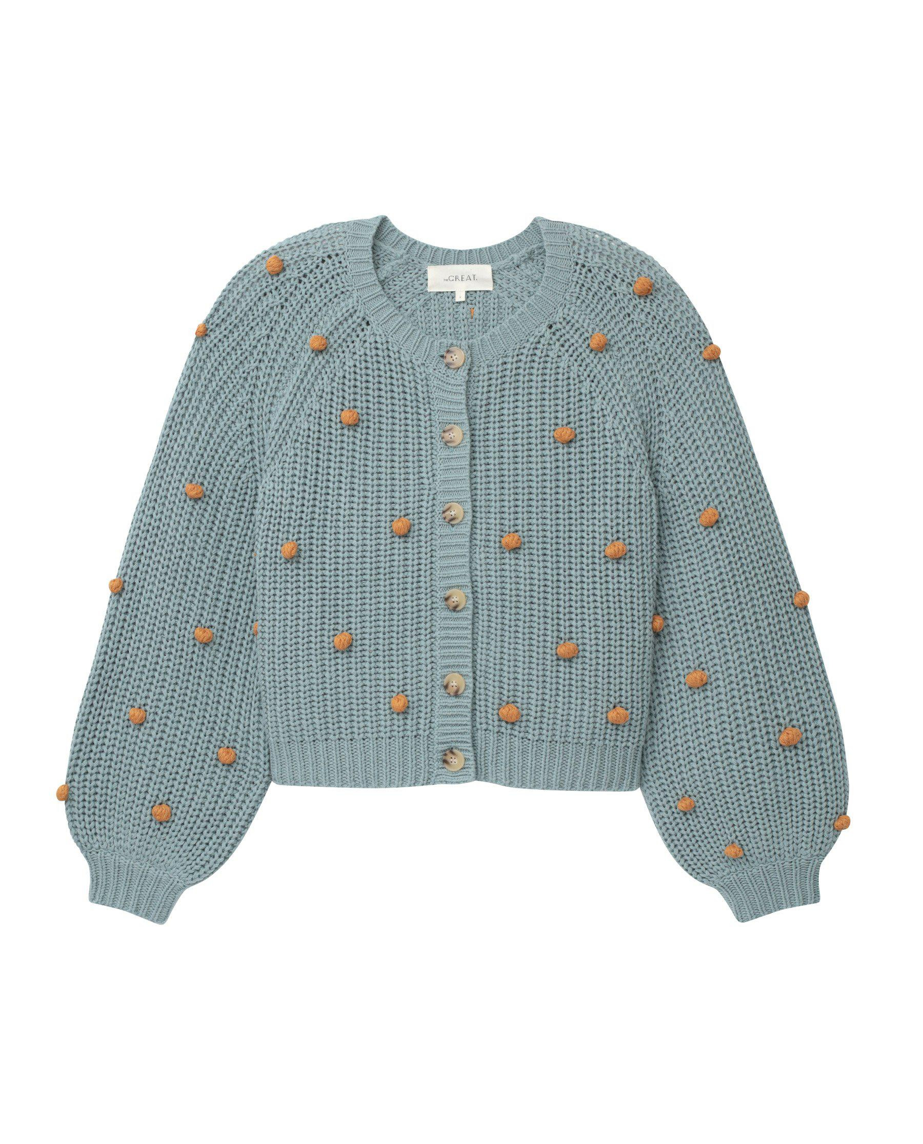 The Bobble Sophomore Cardigan. -- Dusty Blue with Honey 4