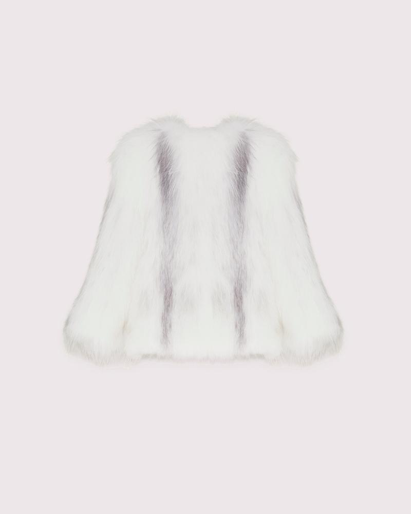 knitted arctic marble fox jacket 5