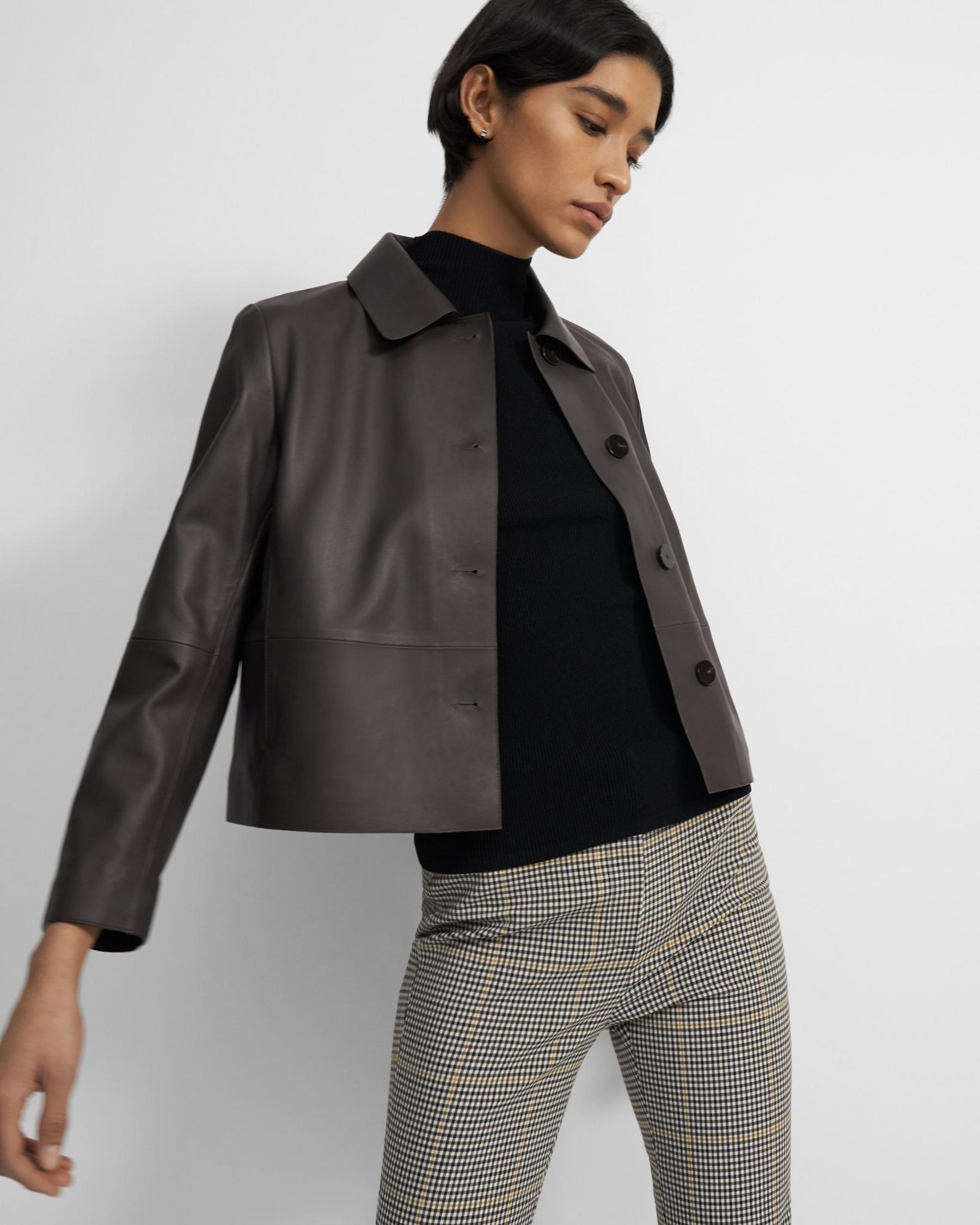 Cropped Piazza Coat in Leather