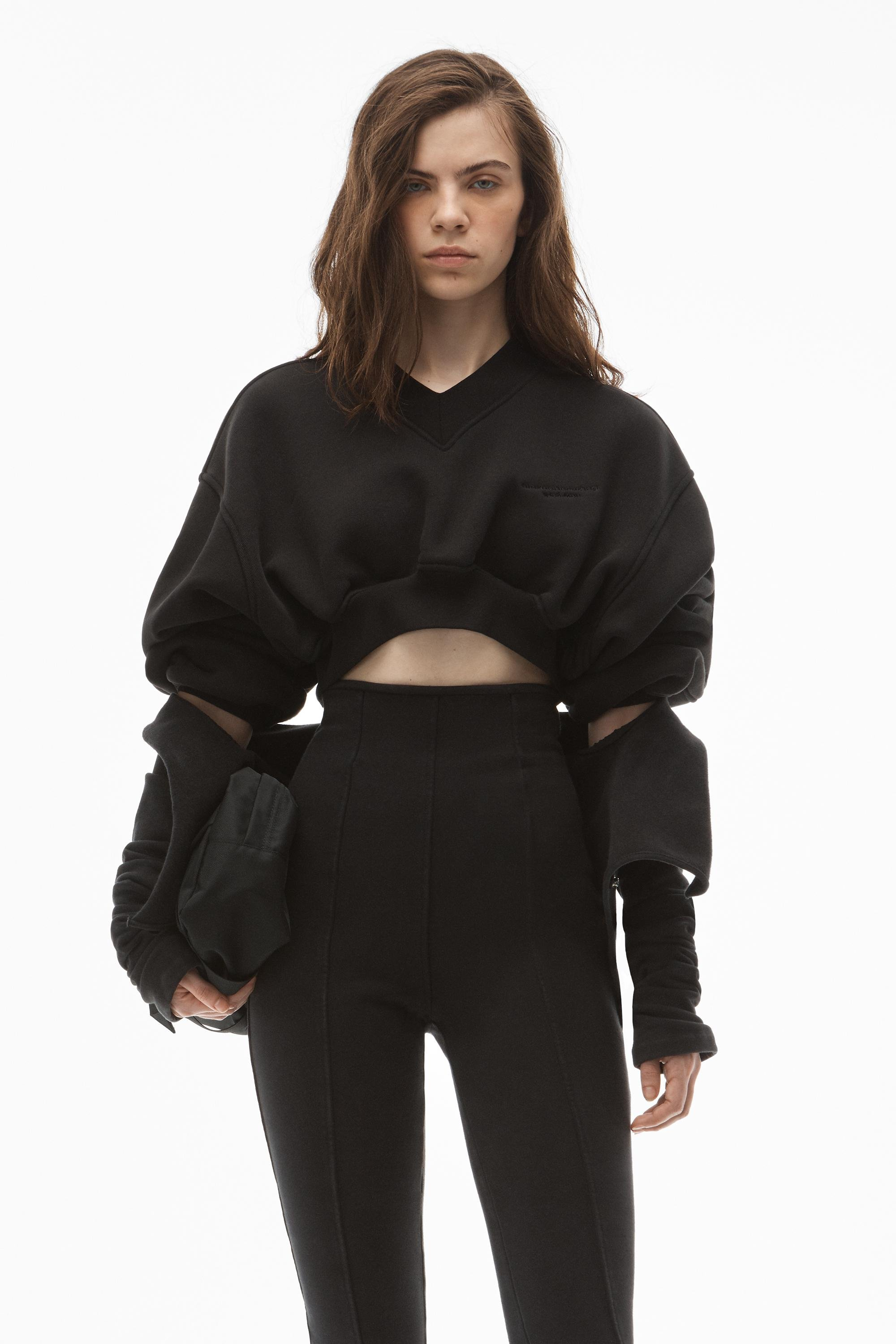 v-neck cropped pullover in classic terry