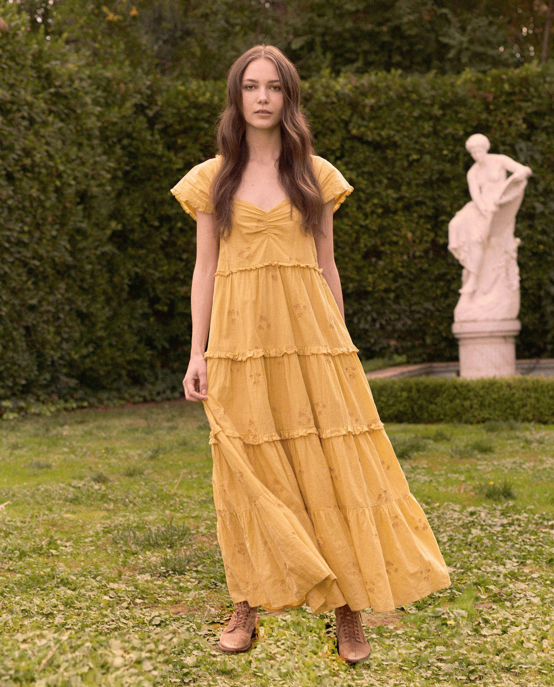 The Tea Dress. -- Misted Yellow With Daisy Bouquet Embroidery