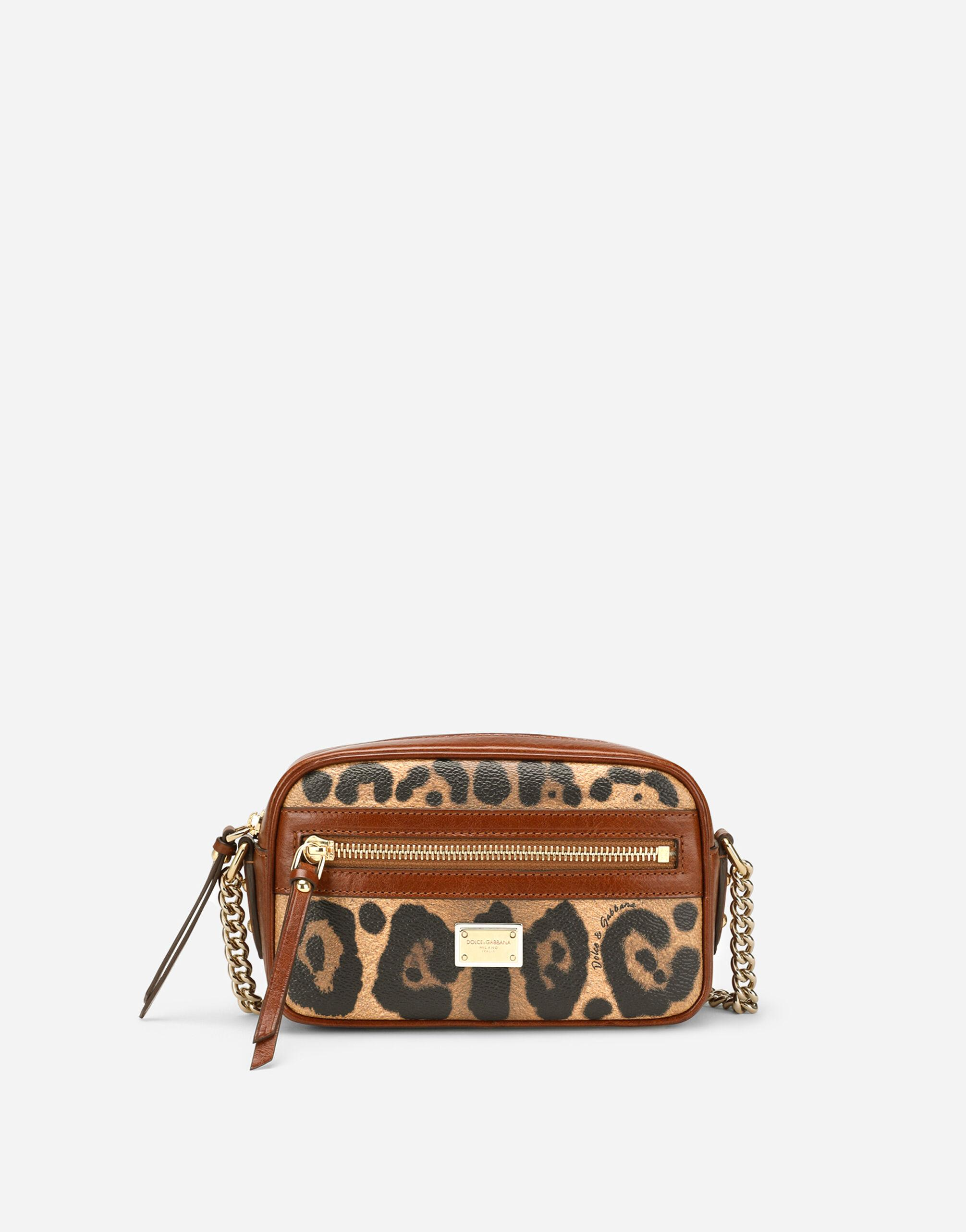 Small crossbody bag in leopard-print Crespo with branded plate