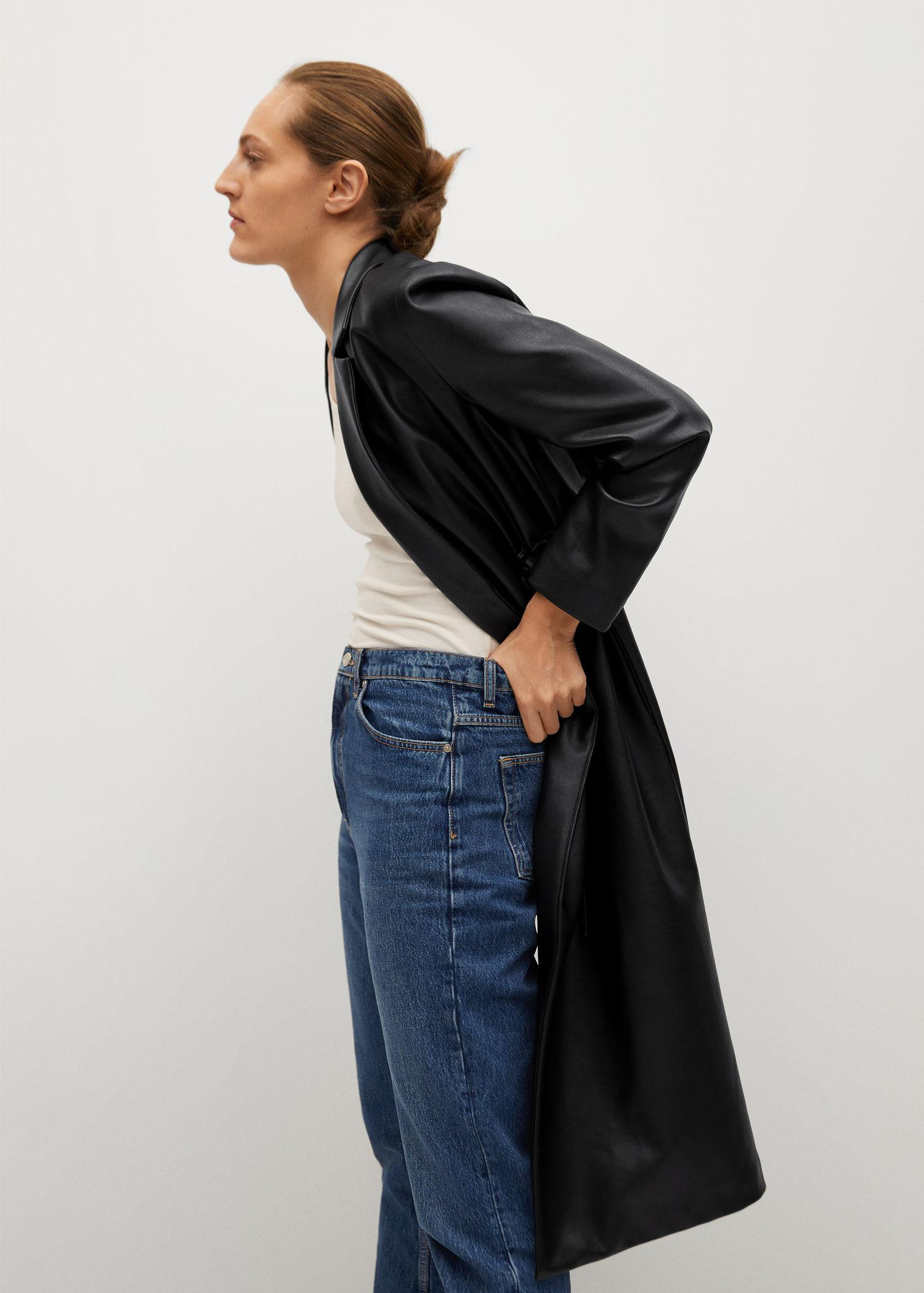 Leather-effect coat with belt 6