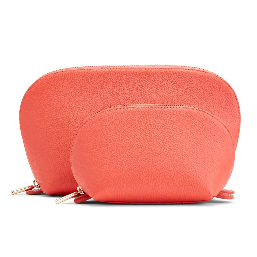 Women's Leather Travel Case Set in Blood Orange | Pebbled Leather by Cuyana