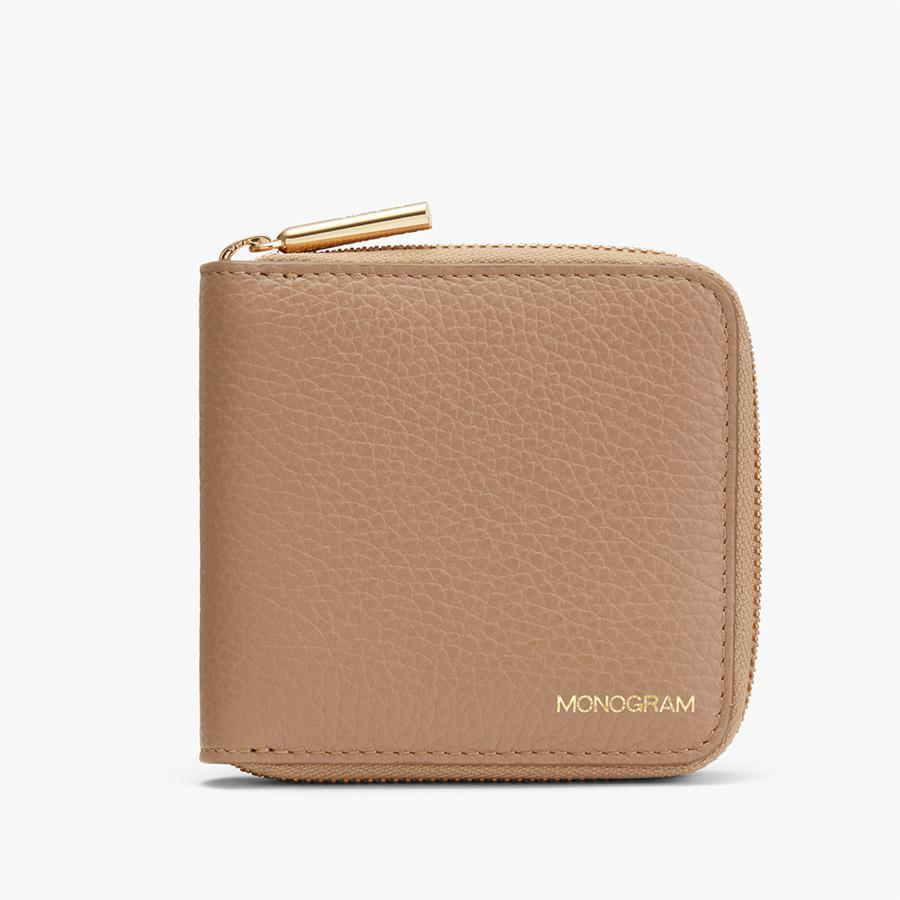 Women's Small Classic Zip Around Wallet in Cappuccino   Pebbled Leather by Cuyana 4