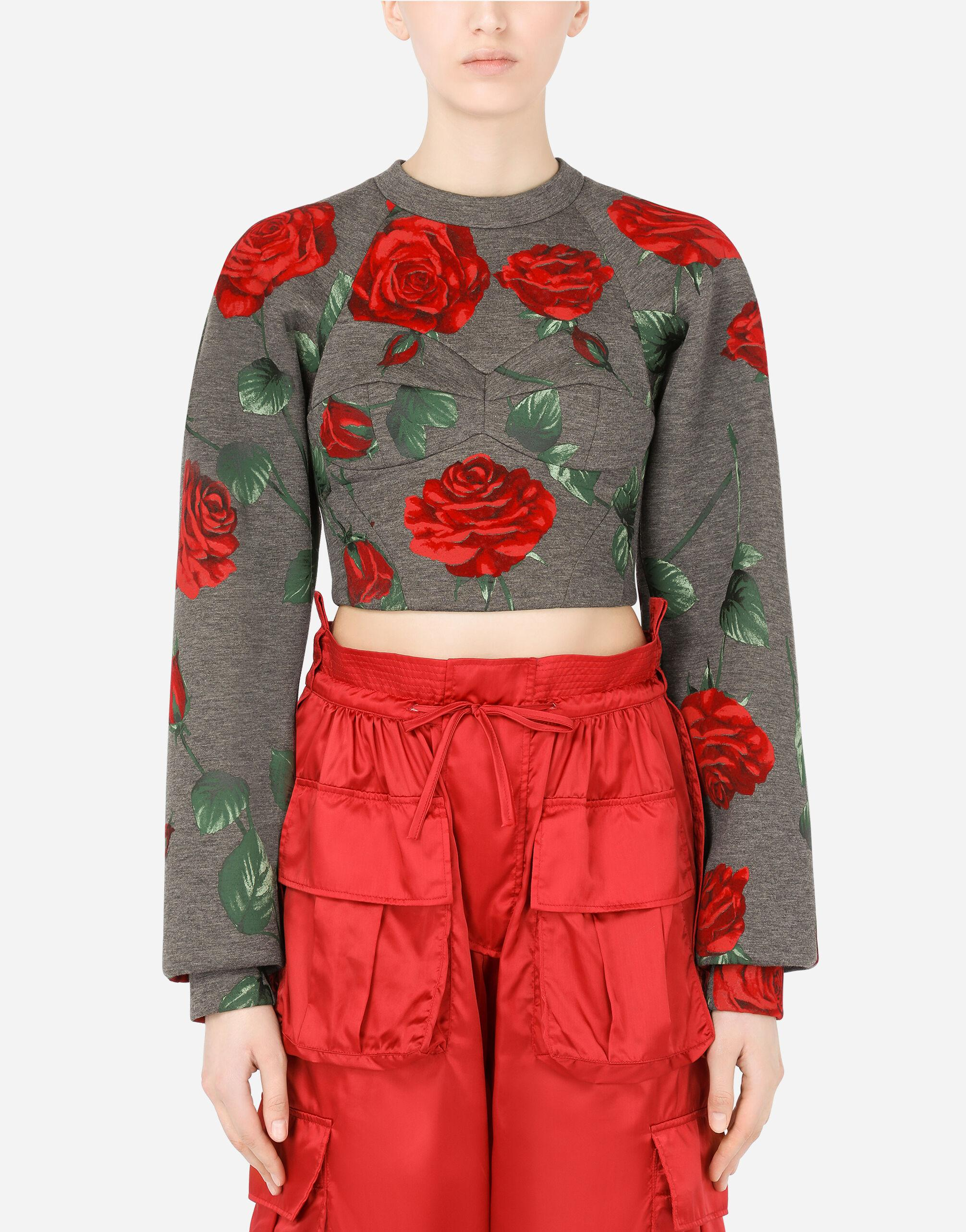 Technical jersey sweatshirt with flocked rose print and bustier details