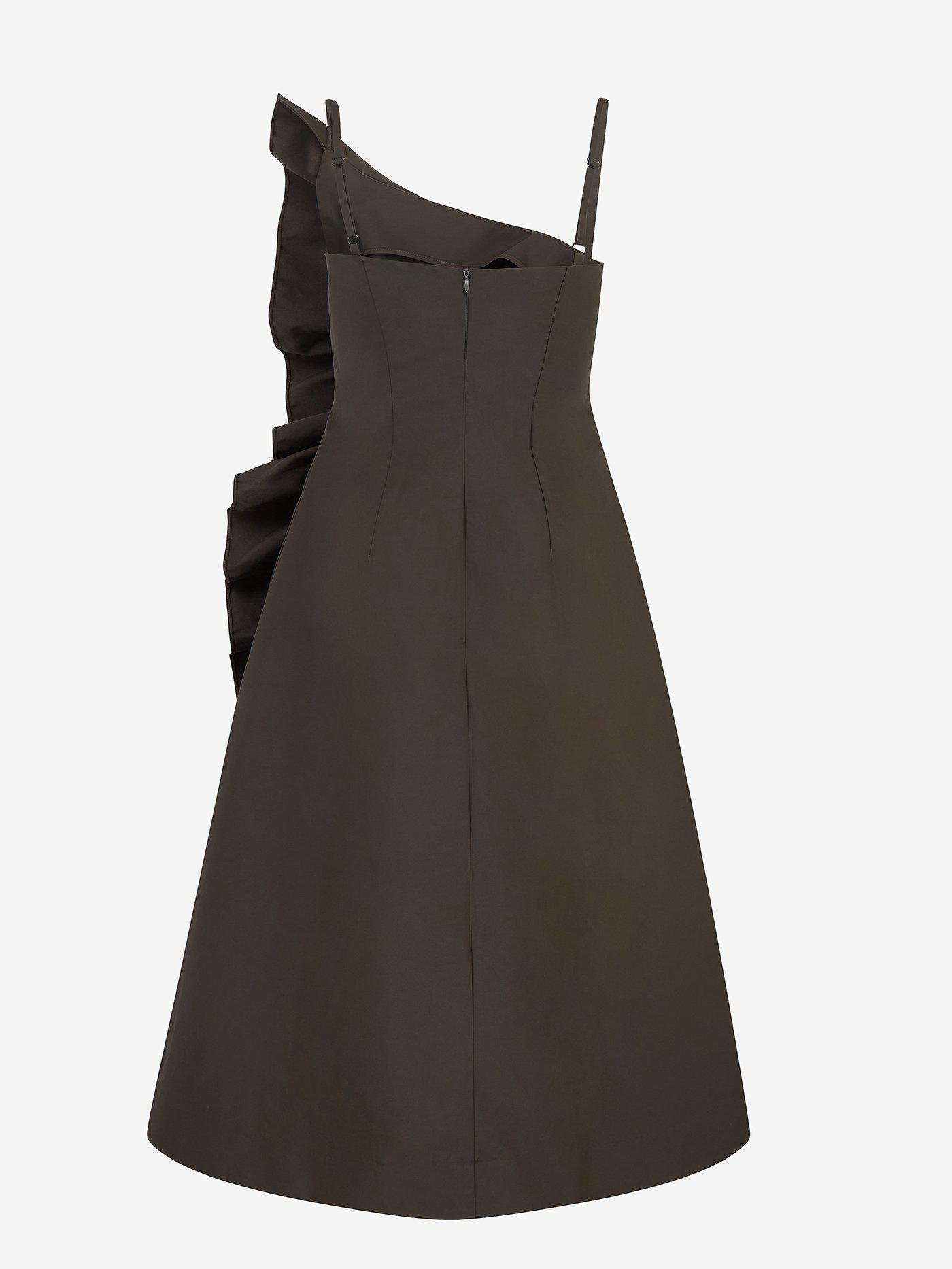 Tuck Frill Detail Strappy Dress (Moss) 2