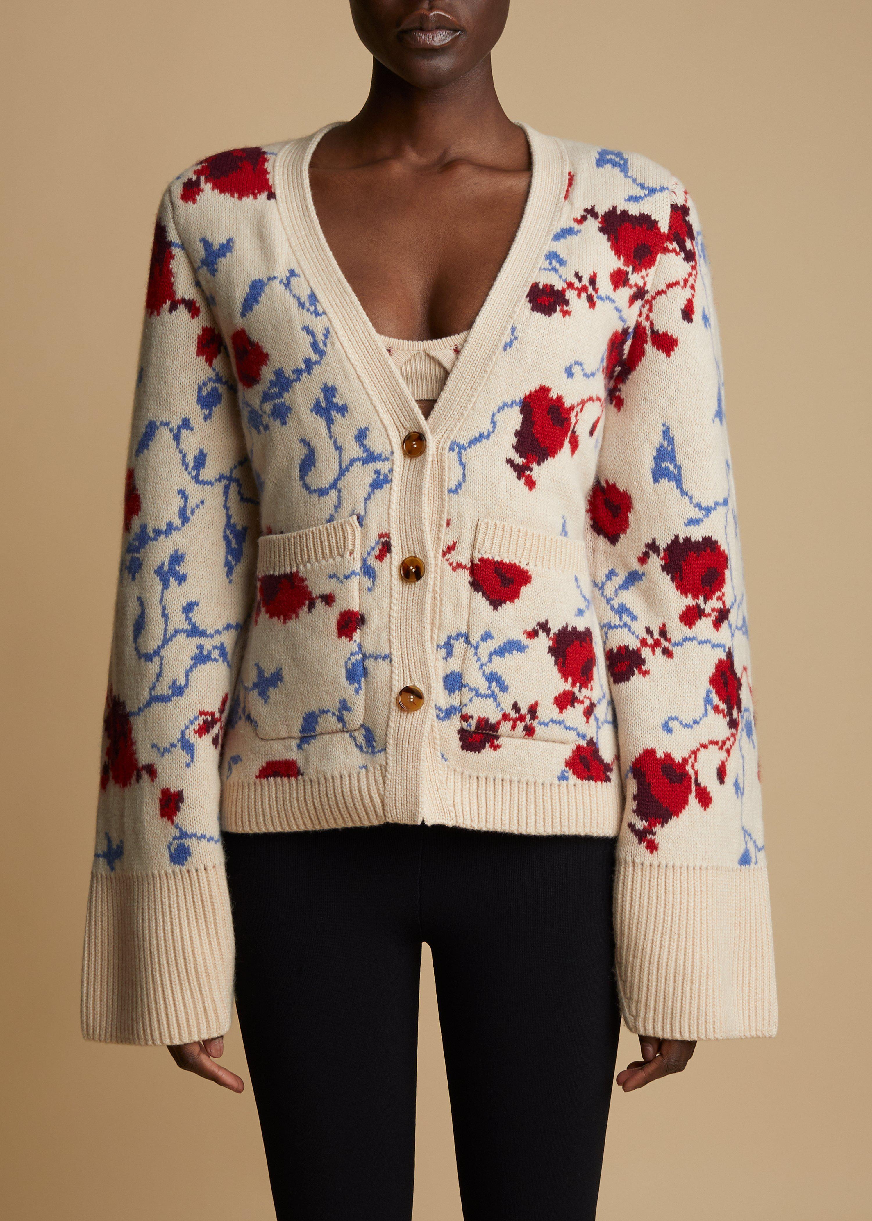 The Scarlet Cardigan in Floral Jacquard