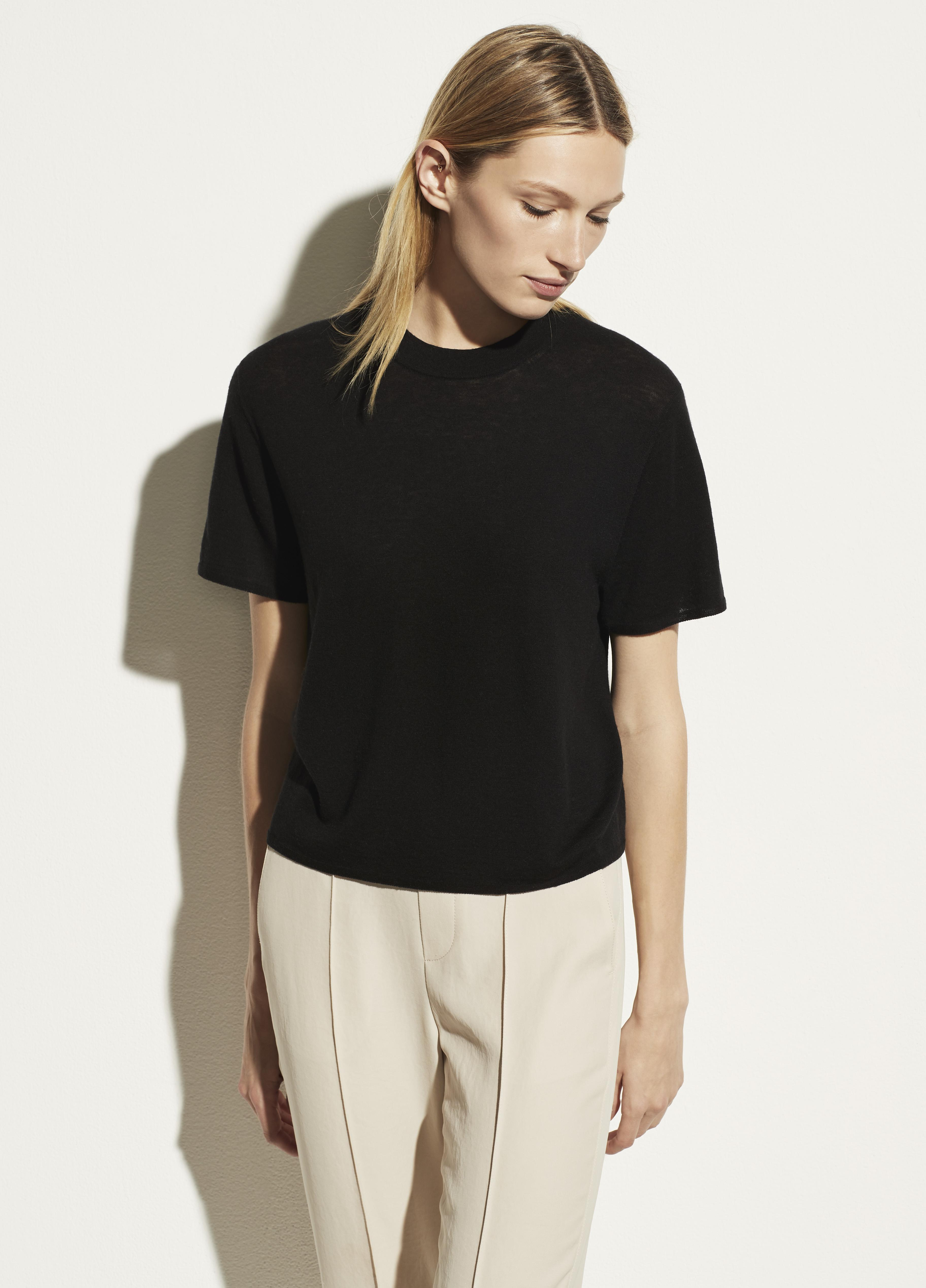 Wool Cashmere Easy Short Sleeve Crew