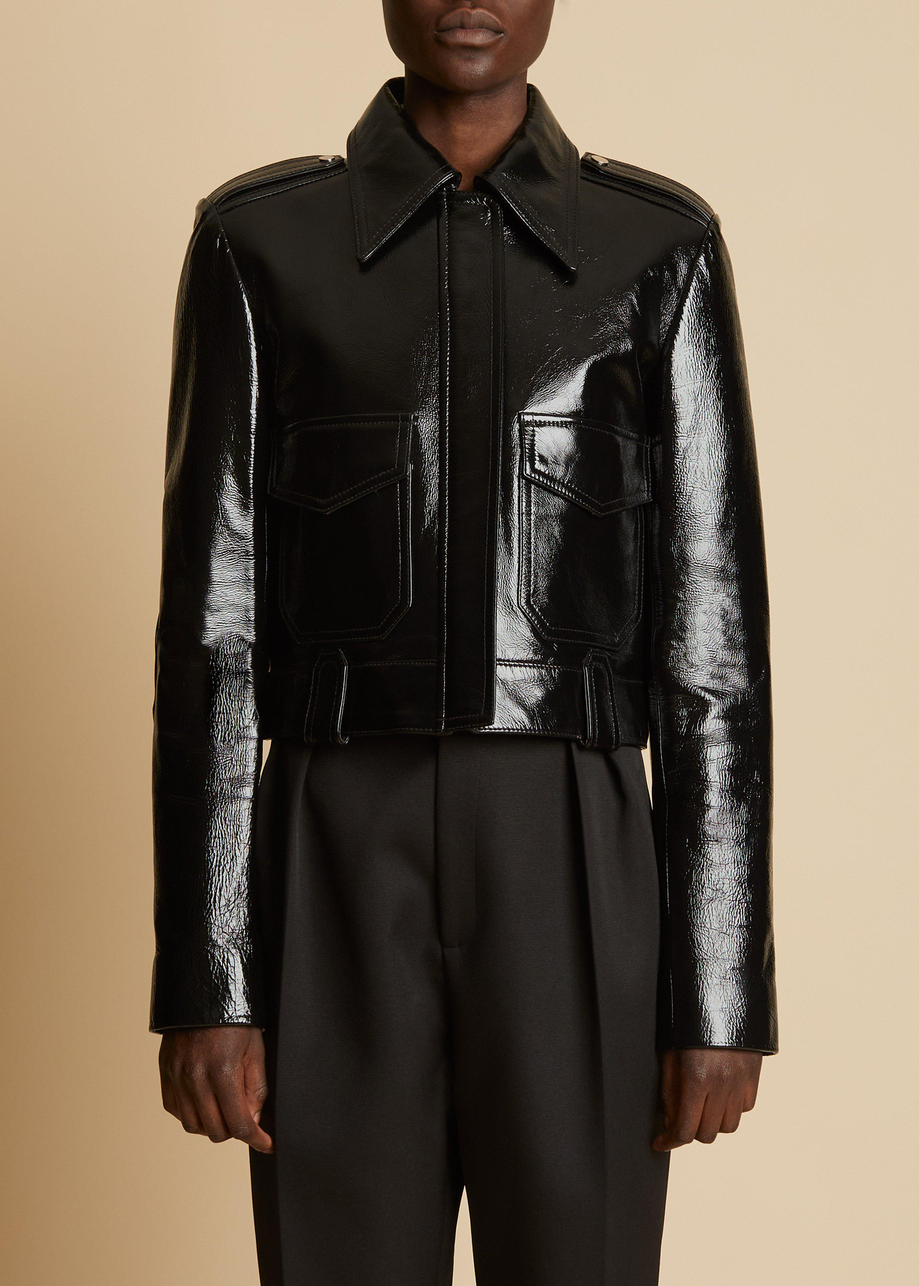 The Cordelia Jacket in Black Patent Leather