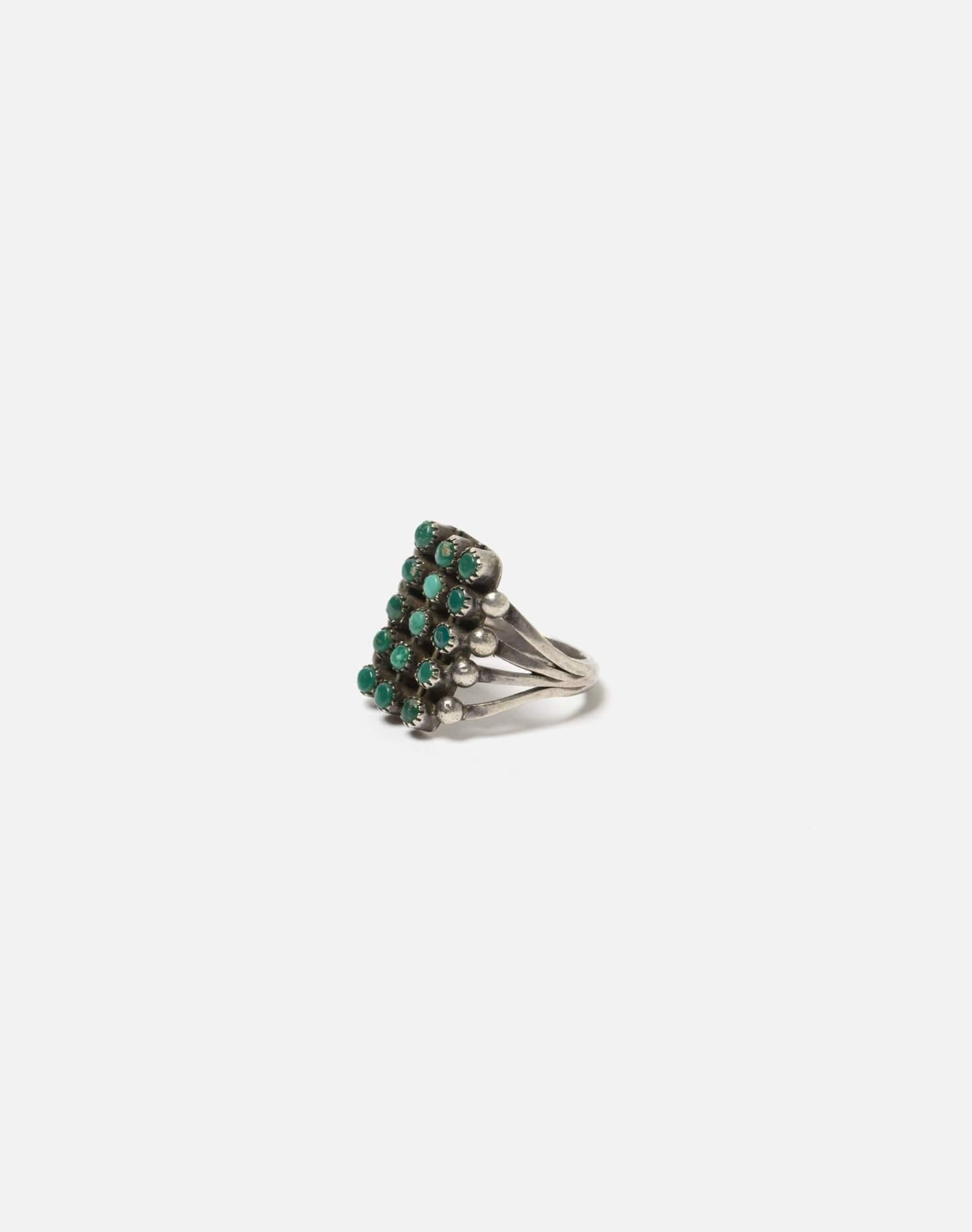 40s Zuni Spilt Shank Sterling And Turquoise Stone Ring - #96 1