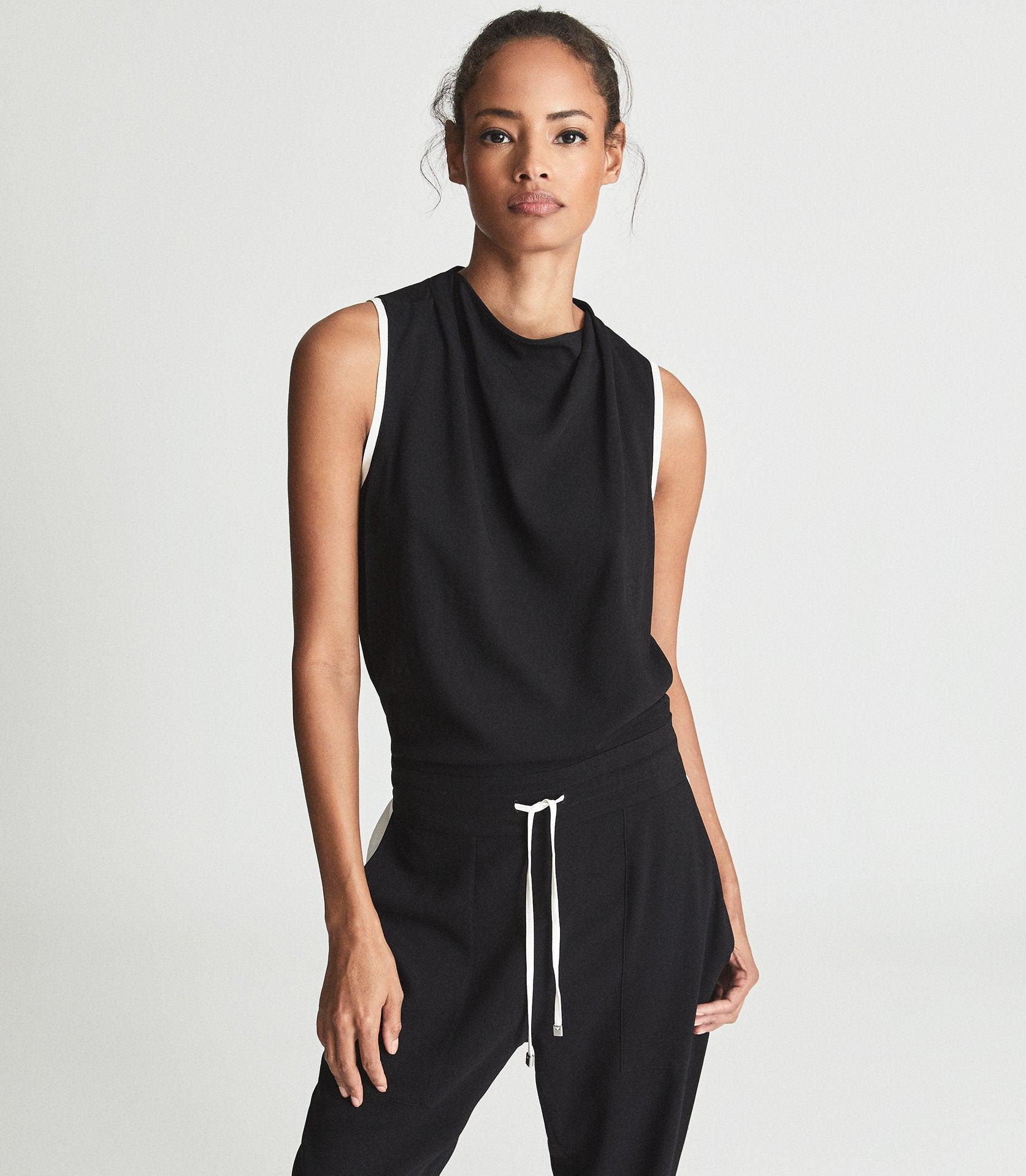 CLAUDIA - SLEEVELESS JUMPSUIT WITH CONTRAST TIPPING 1