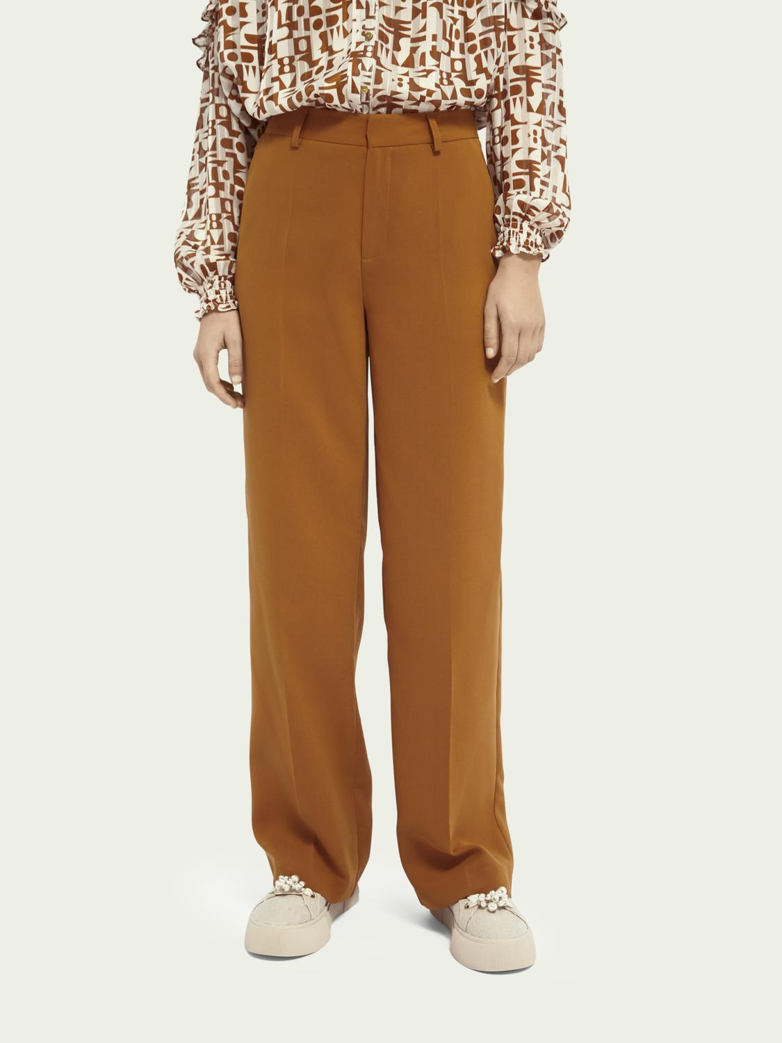 Wide-leg mid-rise trousers