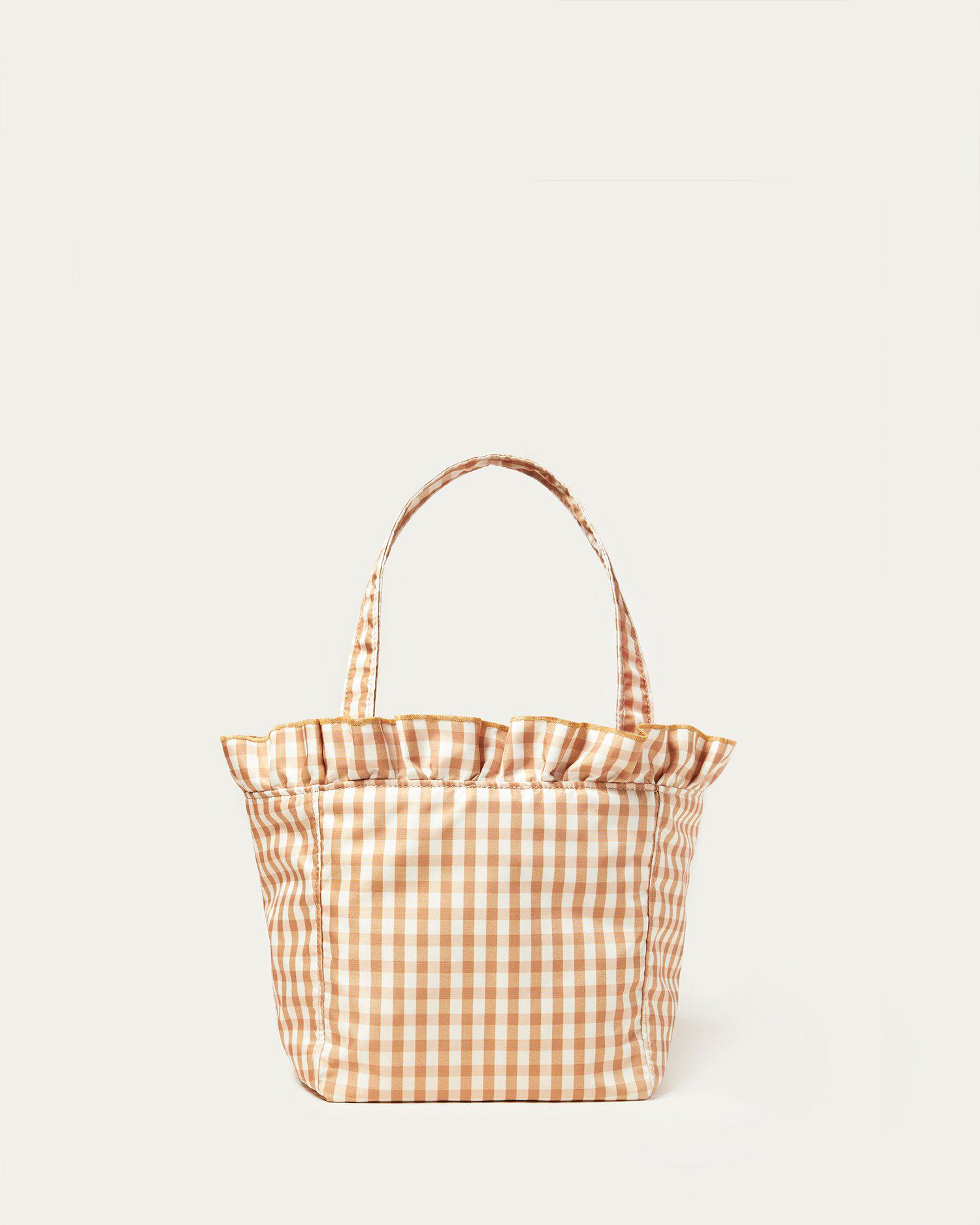 Claire Amber Gingham Ruffle Tote