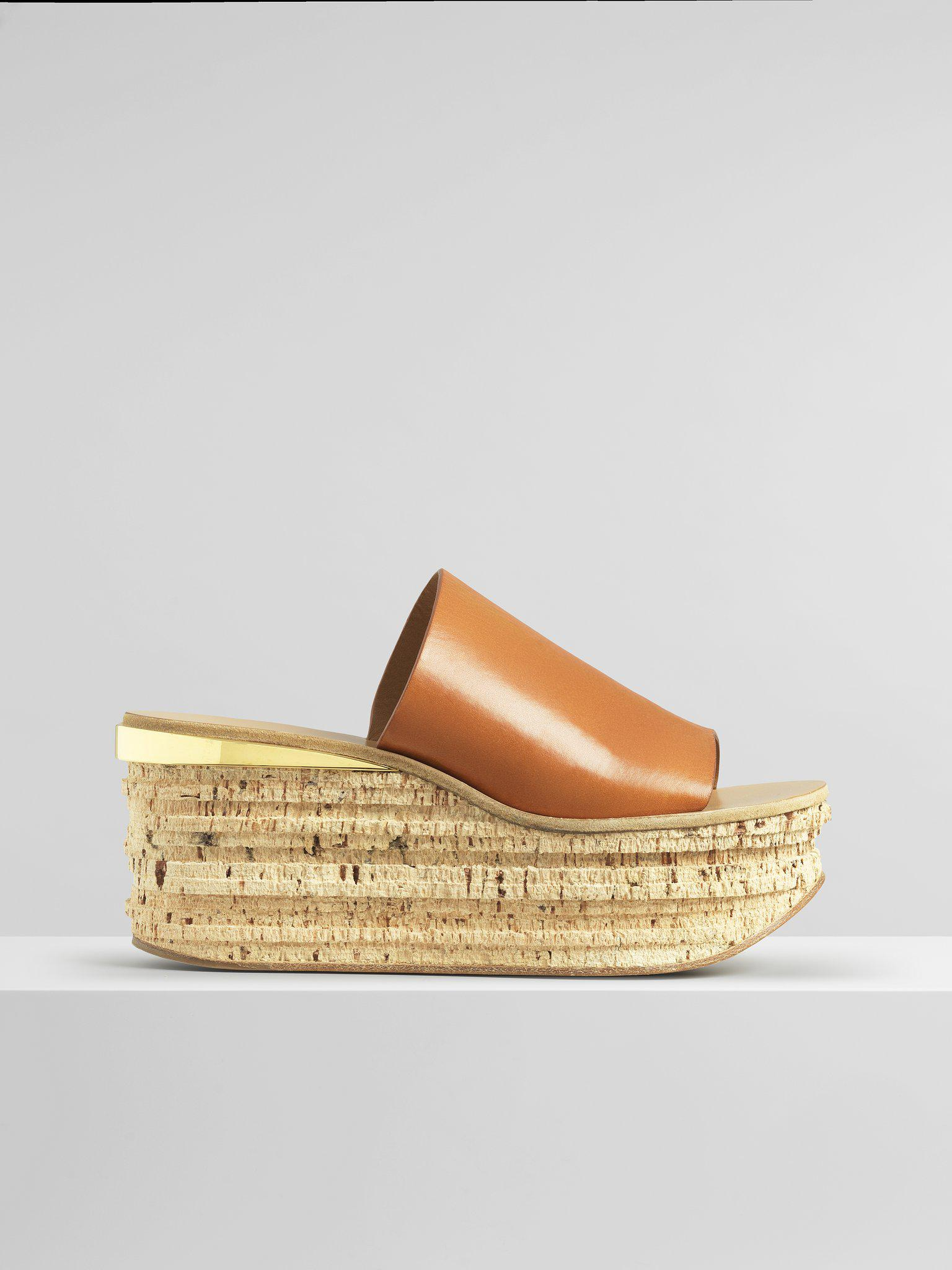 Chloé Camille Wedge Mules in Brown - Save 58% | Lyst