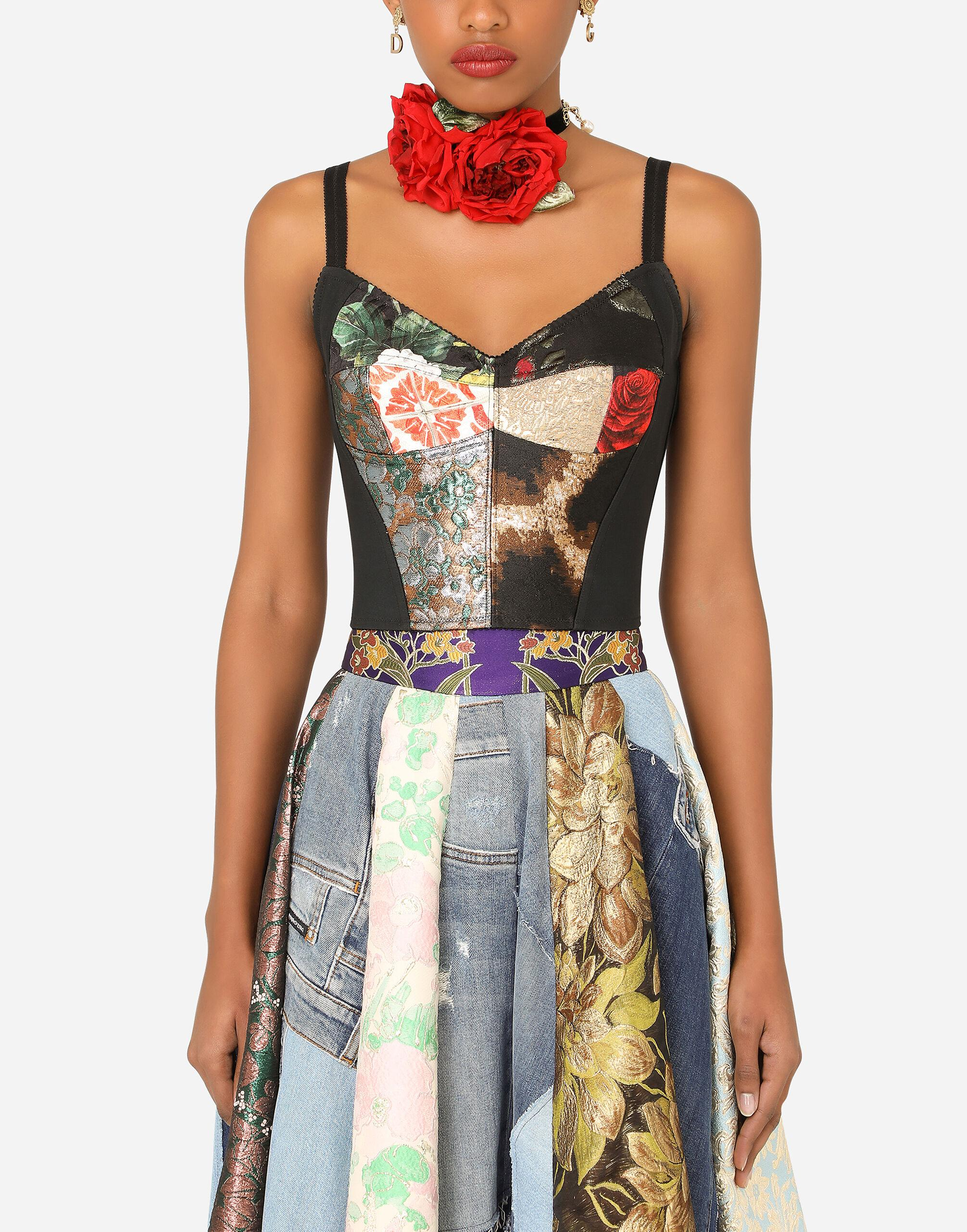 Patchwork brocade and jacquard bustier top