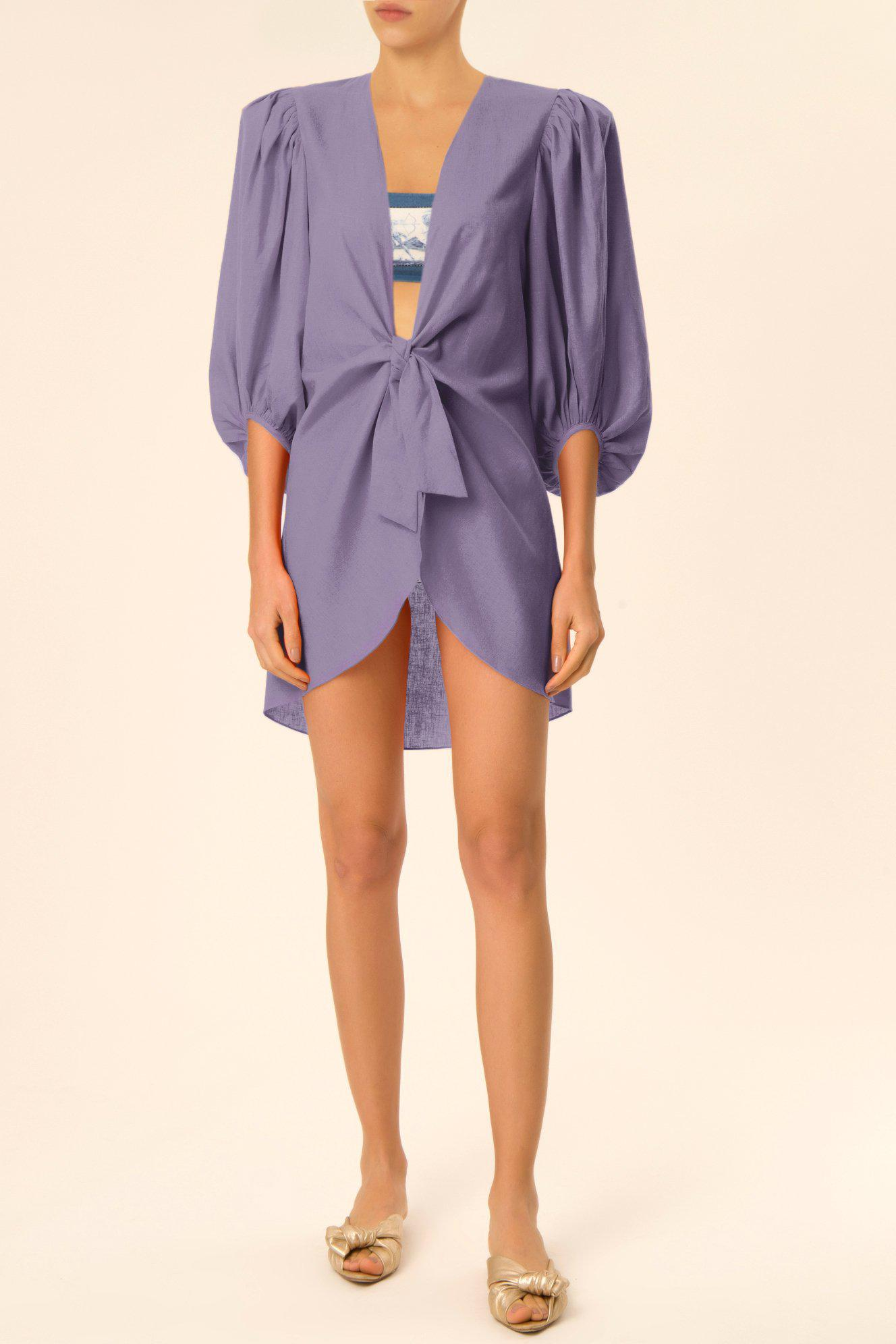 Solid Shirt With Voluminous Sleeves And Knot