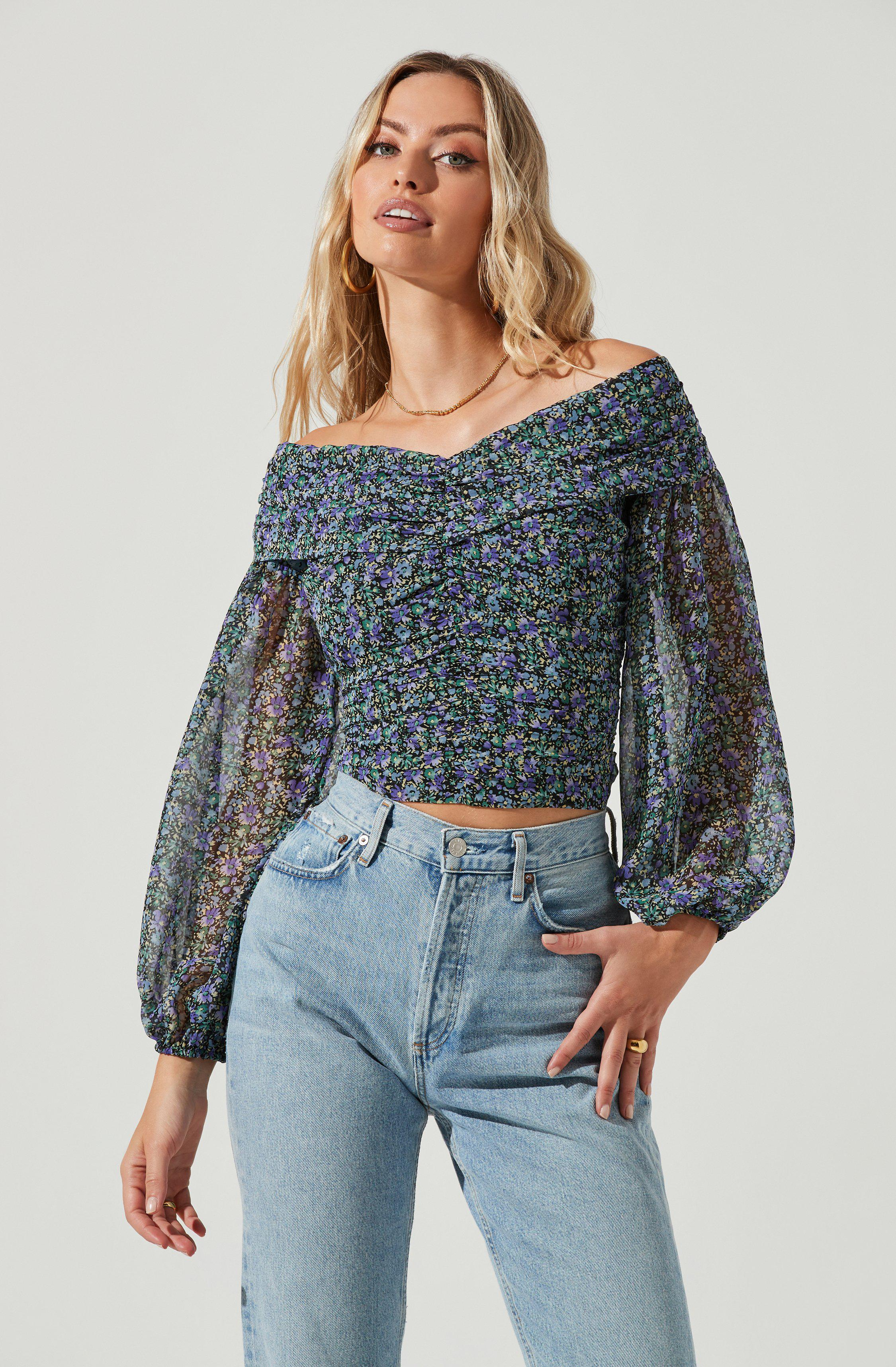 Long Sleeve Off The Shoulder Center Cinched Top