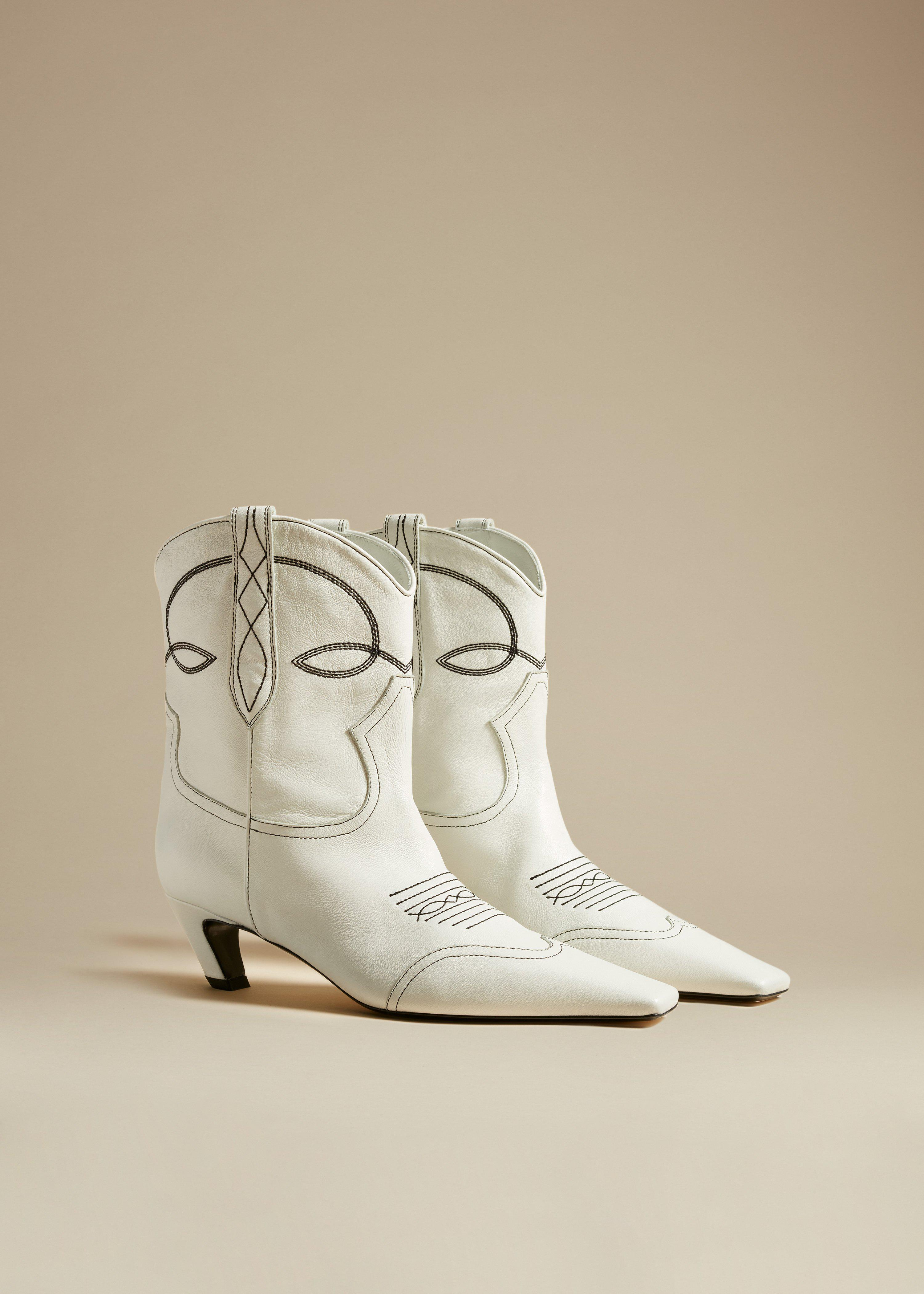 The Dallas Ankle Boot in White Leather 1