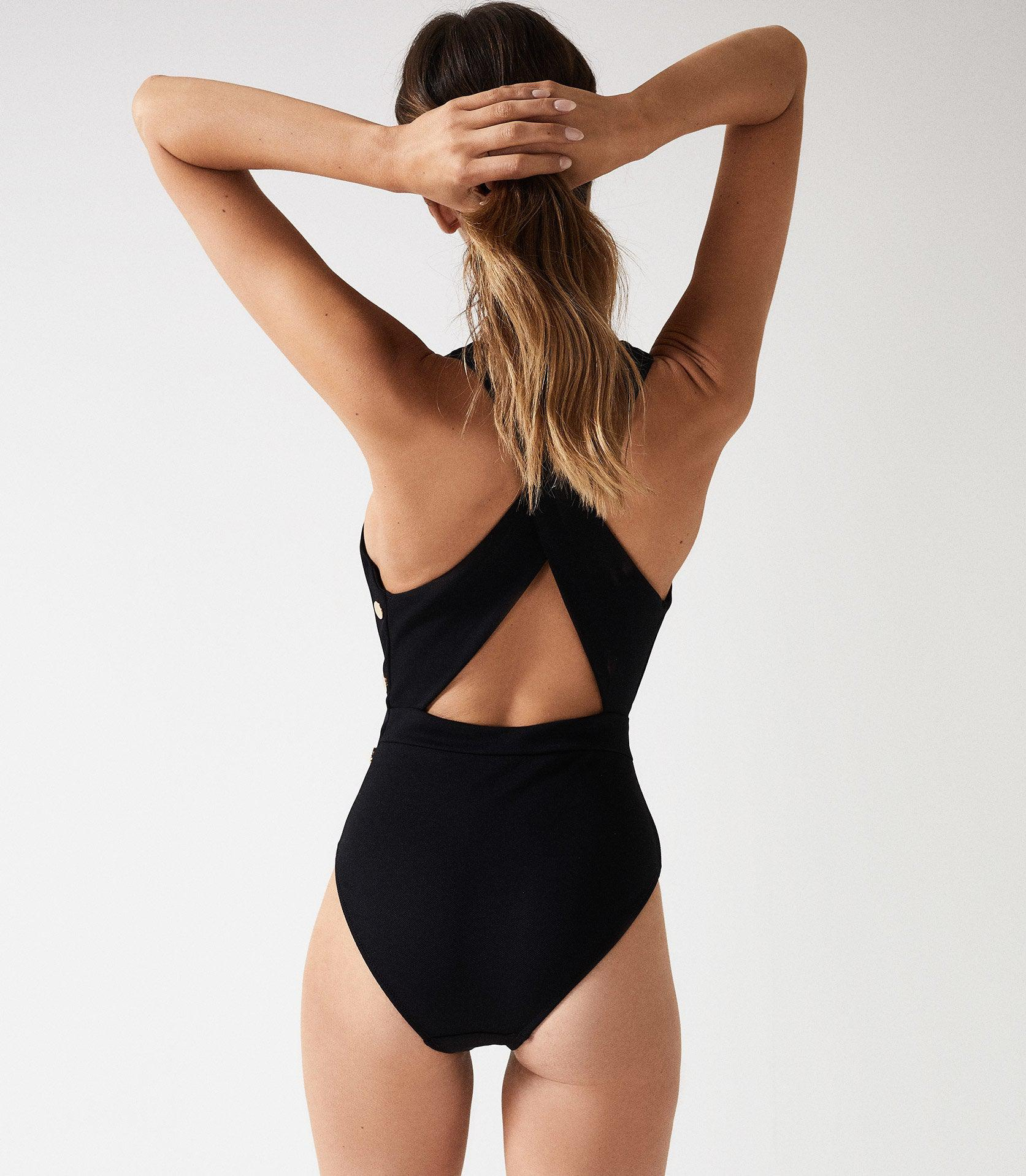 ORLA - PLUNGE SWIMSUIT WITH BUTTON DETAIL 3