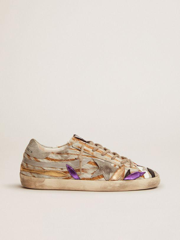 Super-Star sneakers in zebra-print pony skin with colored laminated leather petals
