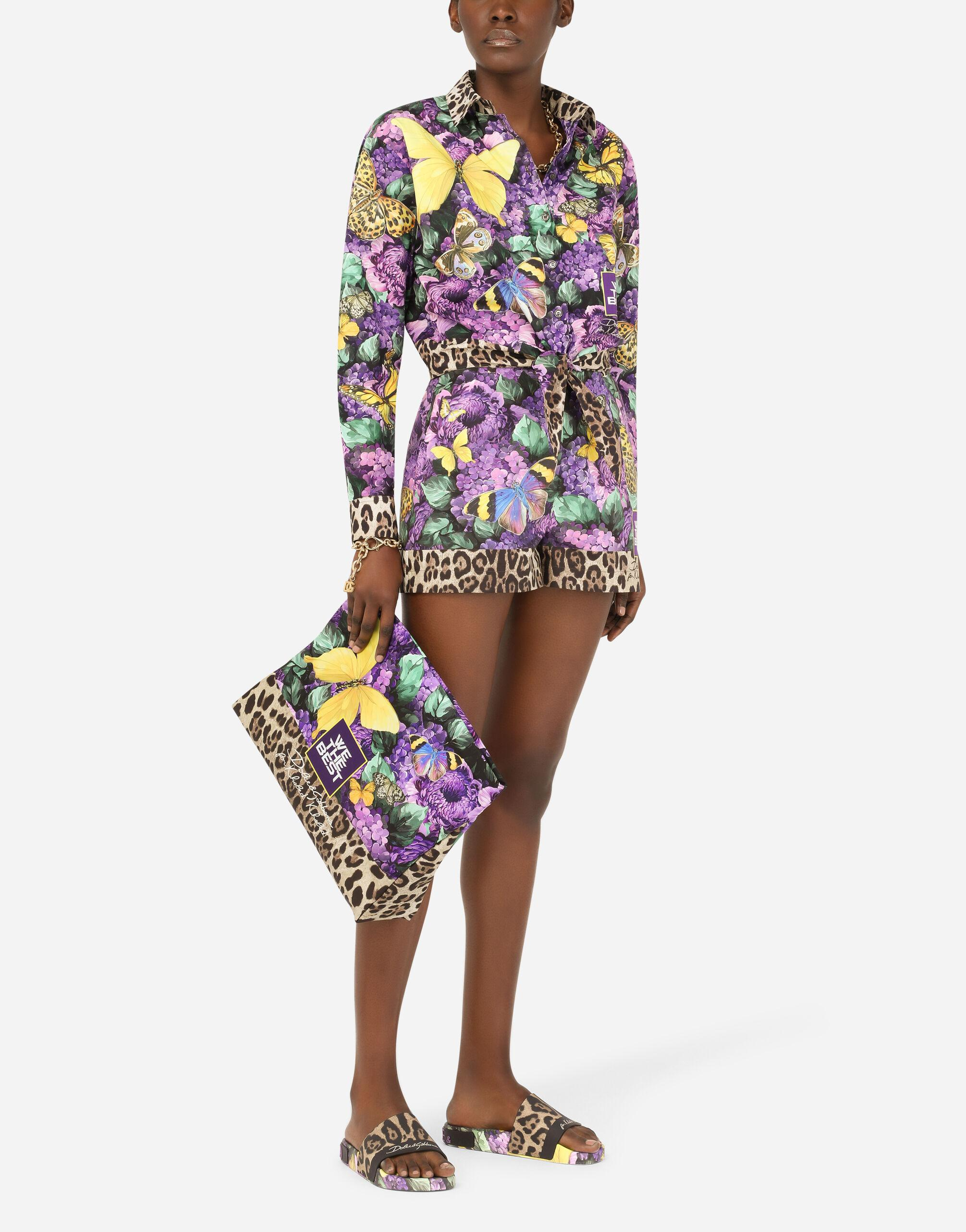 Short poplin shirt with butterfly print and knot detail 1