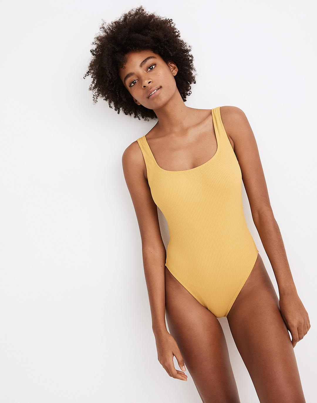 Madewell Second Wave Ribbed Square-Neck Tank One-Piece Swimsuit