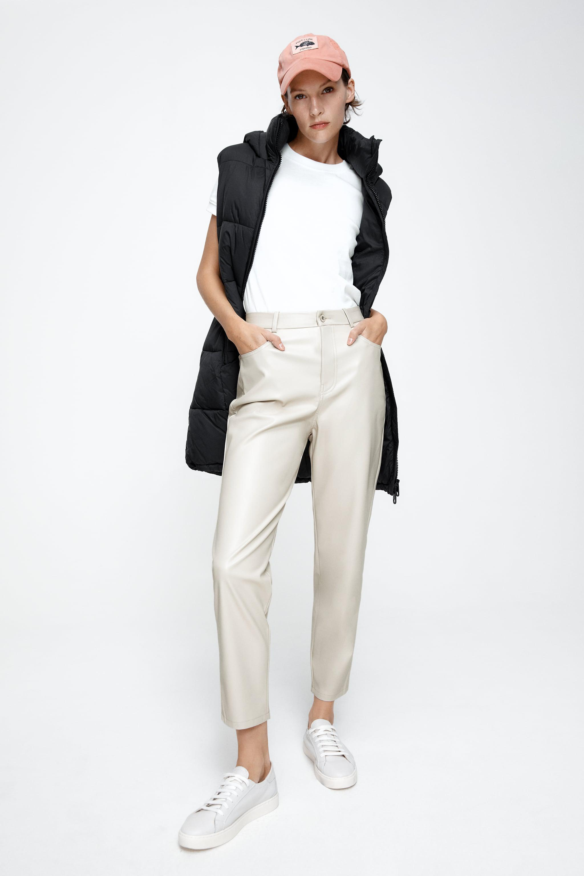 FAUX LEATHER MOM FIT PANTS