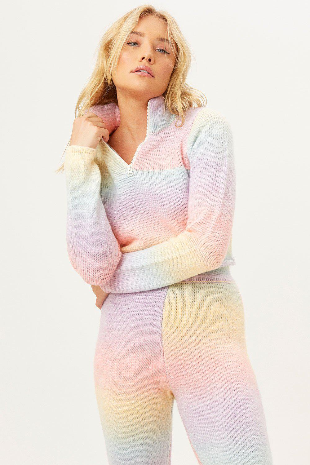 Bowie Cropped Knit Sweater - Cotton Candy 1
