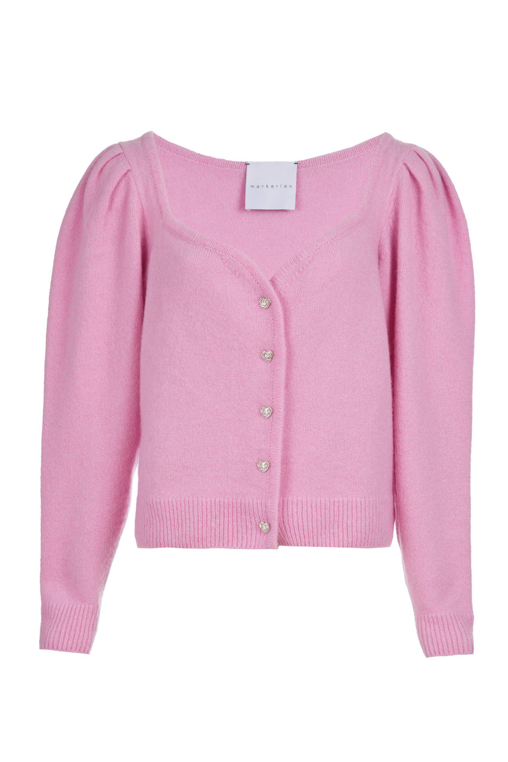 Archive Sale: Sweetheart Neck Pink Cashmere Cardigan with Crystal Heart Buttons 1