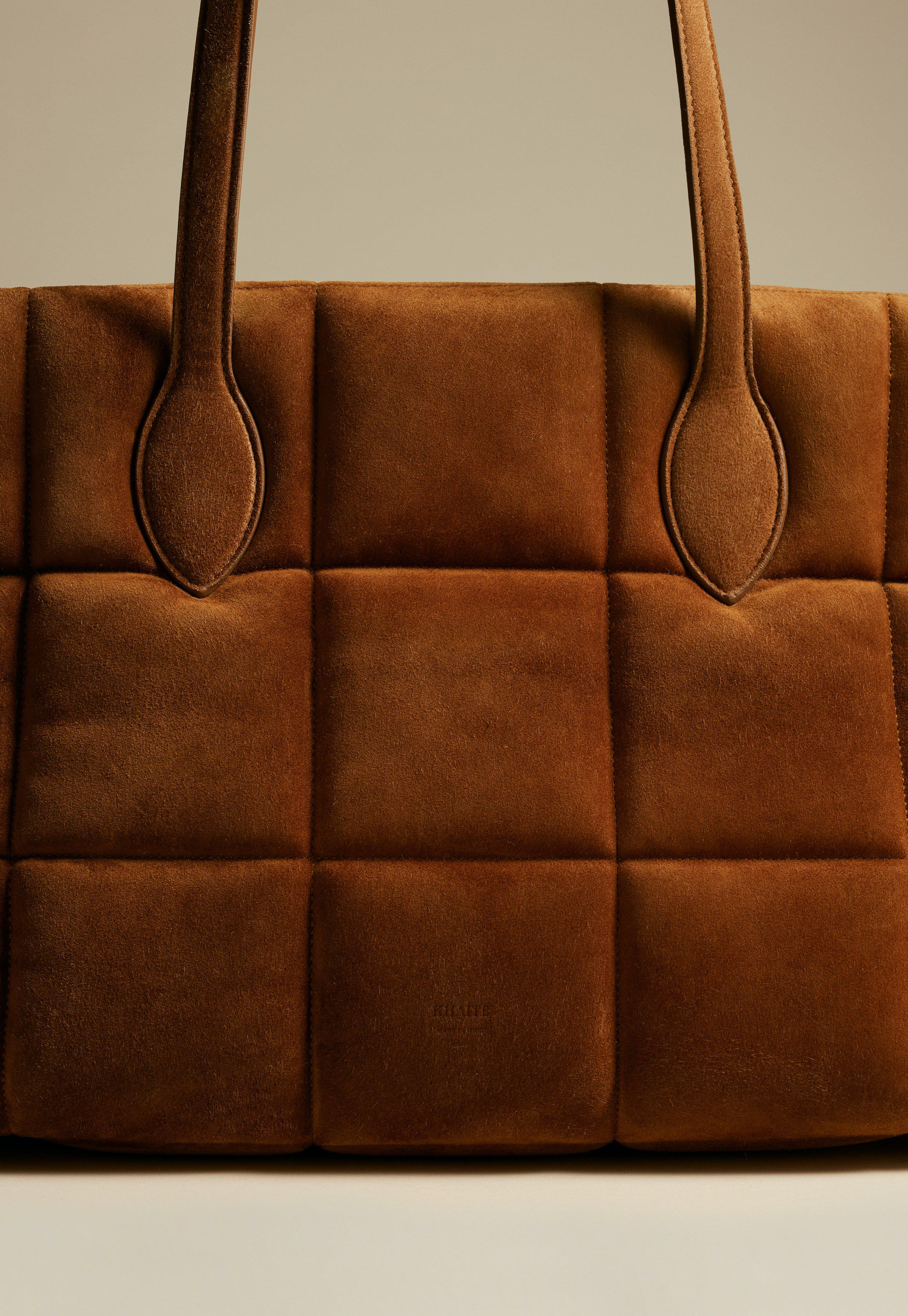 The Florence Quilted Tote in Caramel Suede 2