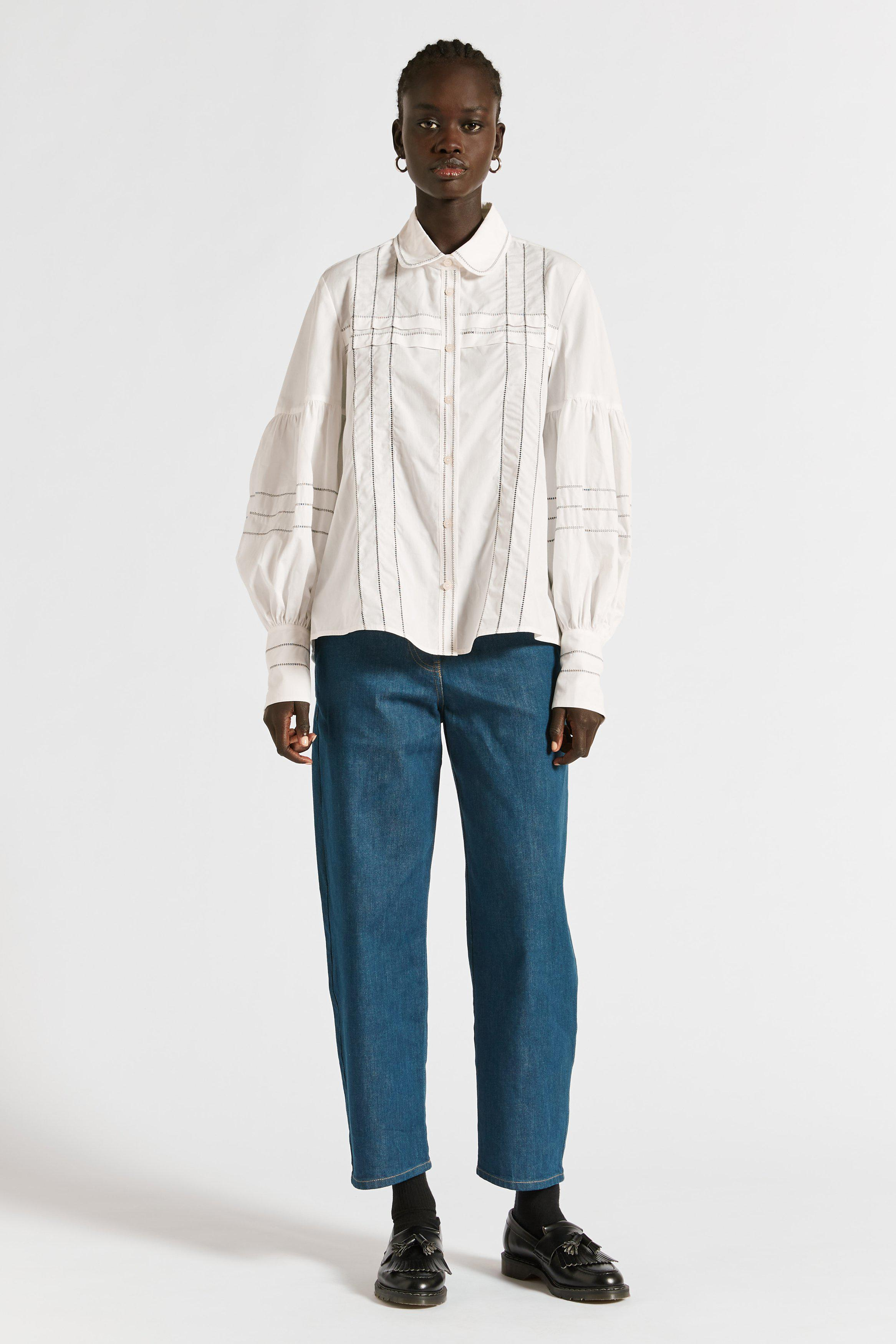 Parker Embroidered Tucked Shirt