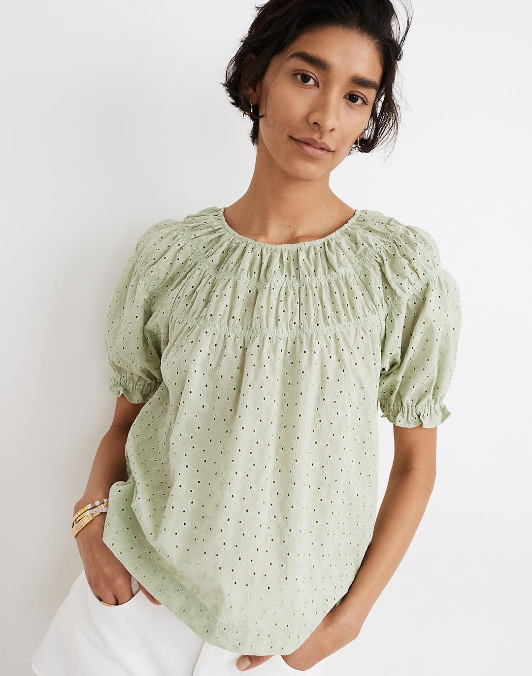 Daisy Embroidered Shirred Puff-Sleeve Top