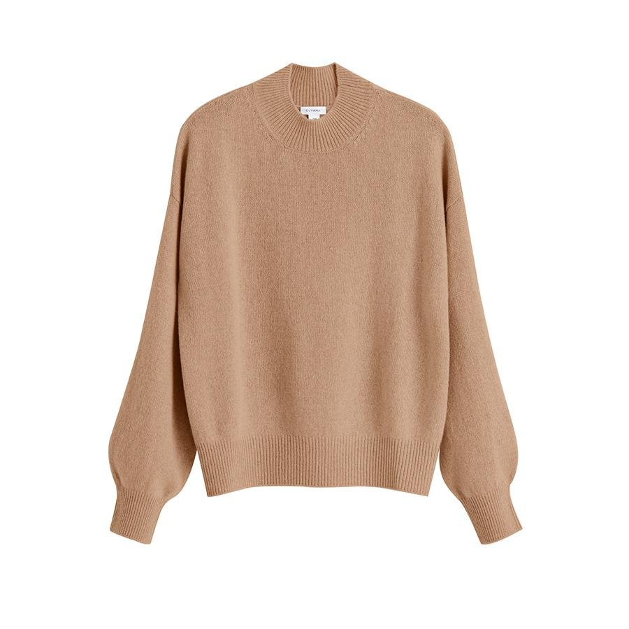 Women's Recycled Mock Neck Sweater in Camel | Size: