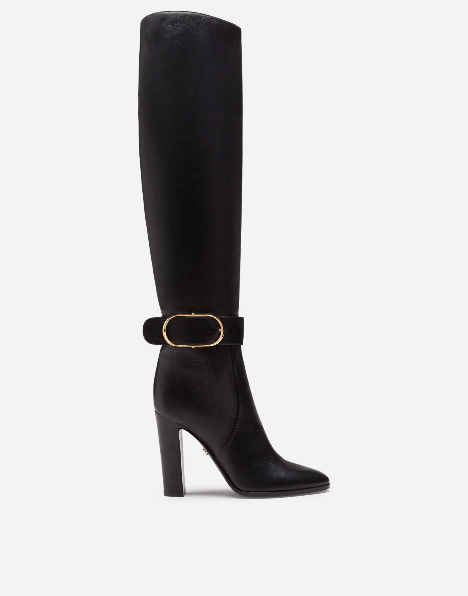 Boots in foulard calfskin with decorative buckle
