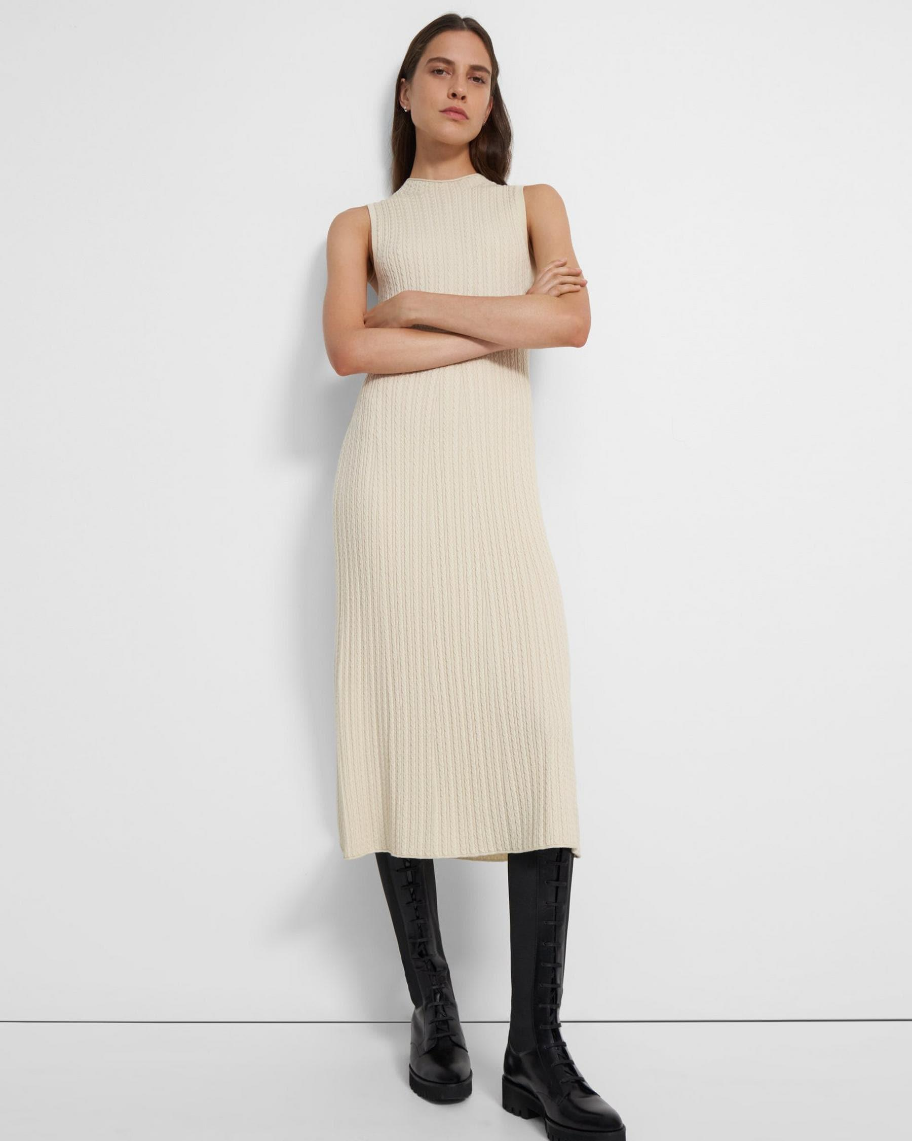 Cable-Knit Dress in Wool-Viscose Crepe